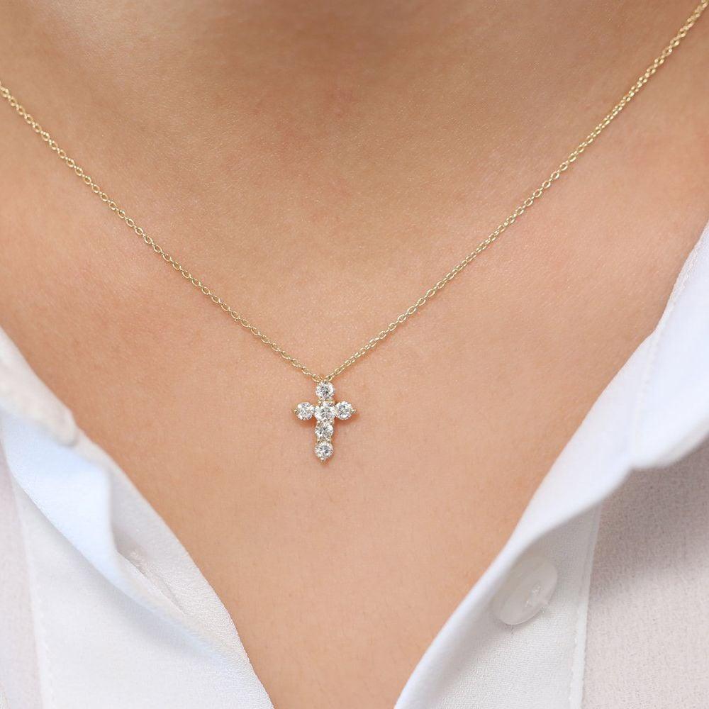 0.1Ct Cross Diamond Necklace Pendant for Women (10.75X8Mm)