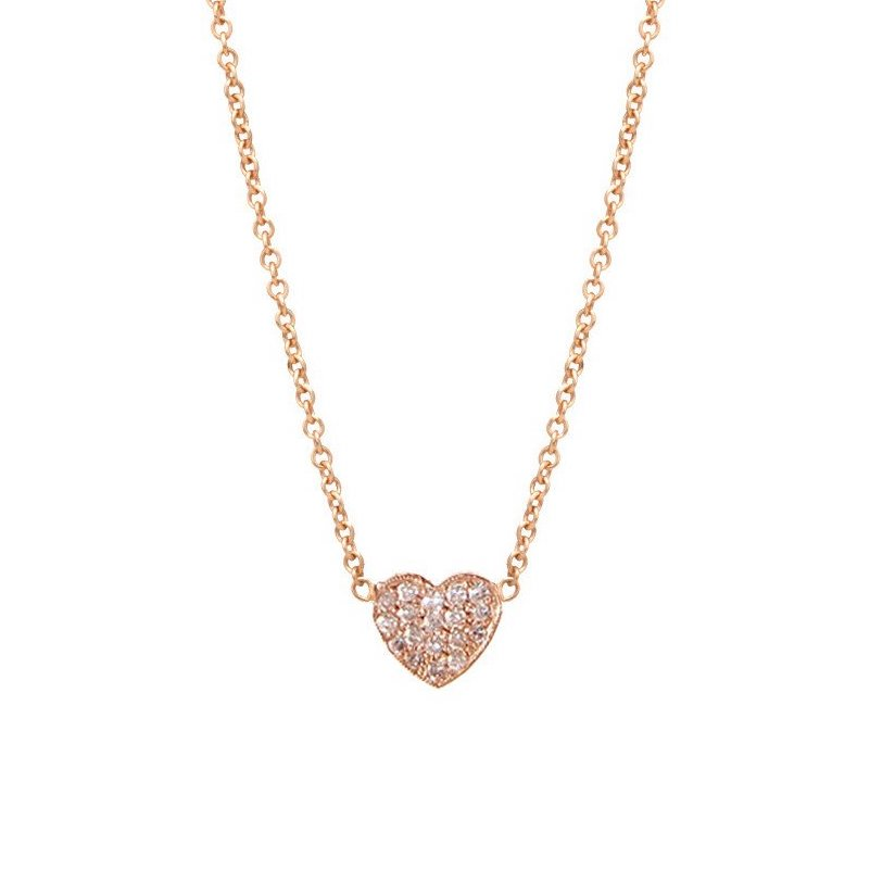 0.1Ct Solid Heart Shape Diamond Necklace Pendant for Women (6X6Mm)