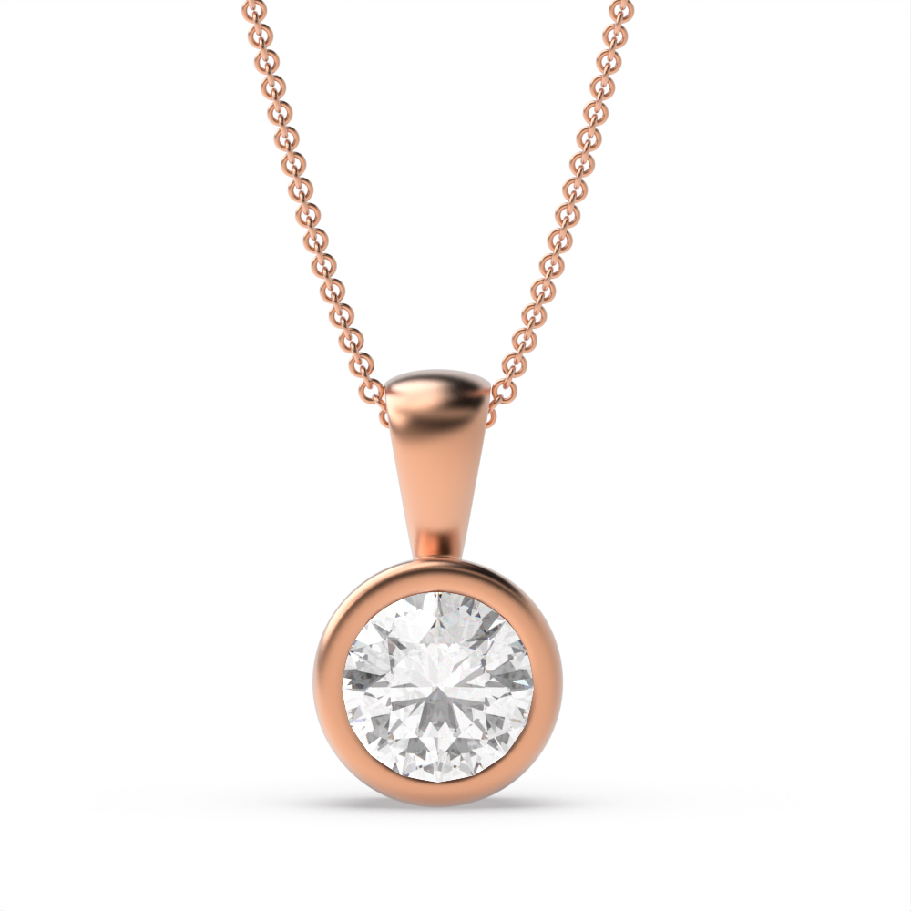 Bezel Set Solid Bale Round Shape Solitaire Diamond Necklace