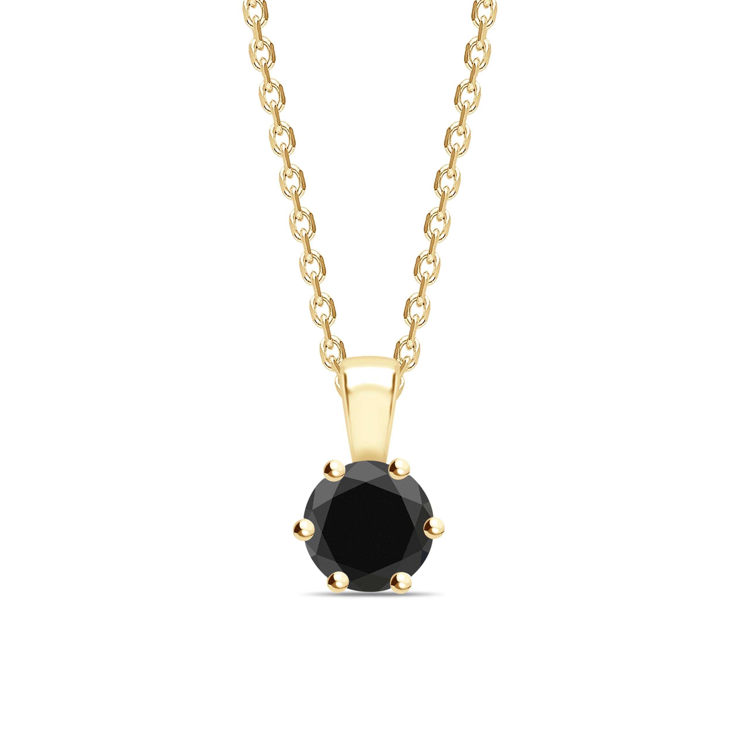 Round Cut Flower Style Black Diamond  Solitaire Pendants Necklace