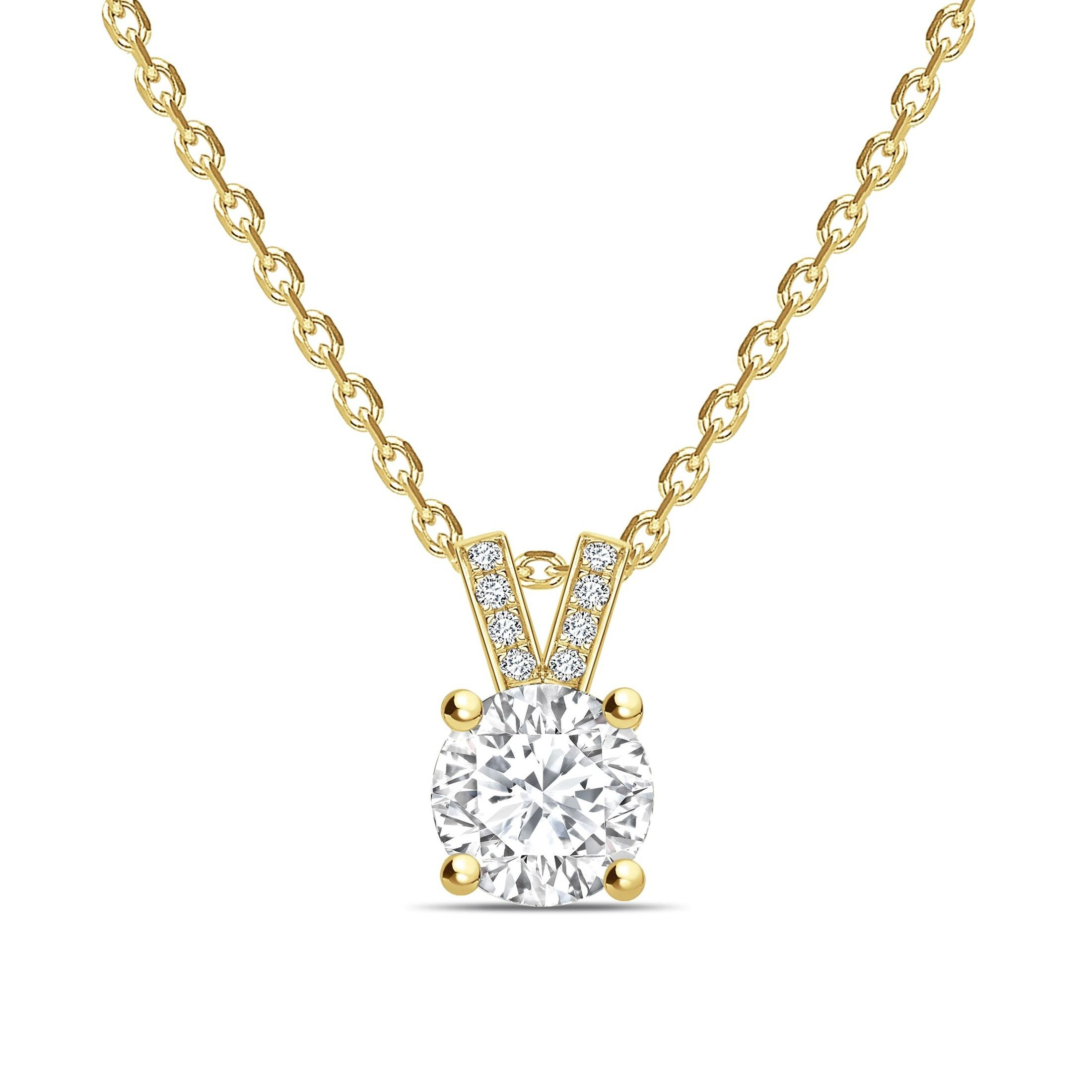 Diamond Set V Shape Bale Round Shape Solitaire Diamond Necklace