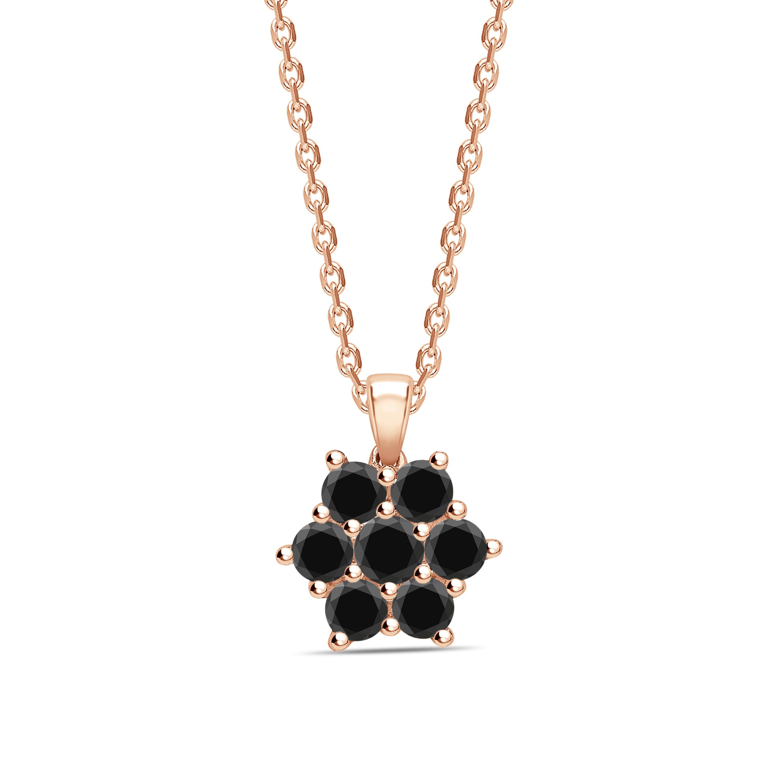 Round Cut Black Diamond Solitaire Cluster Pendants Necklace