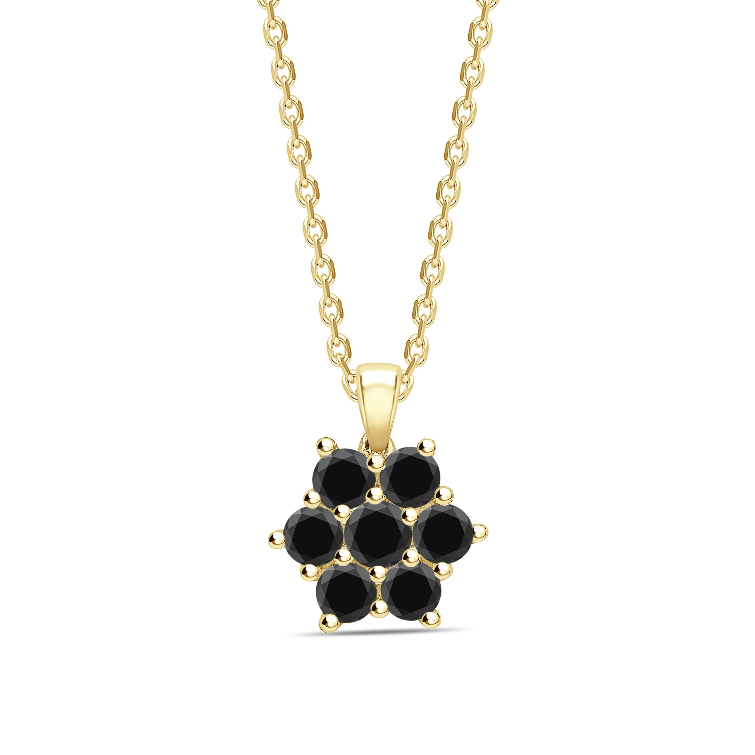 Round Cut Black Diamond Solitaire Cluster Pendants Necklace