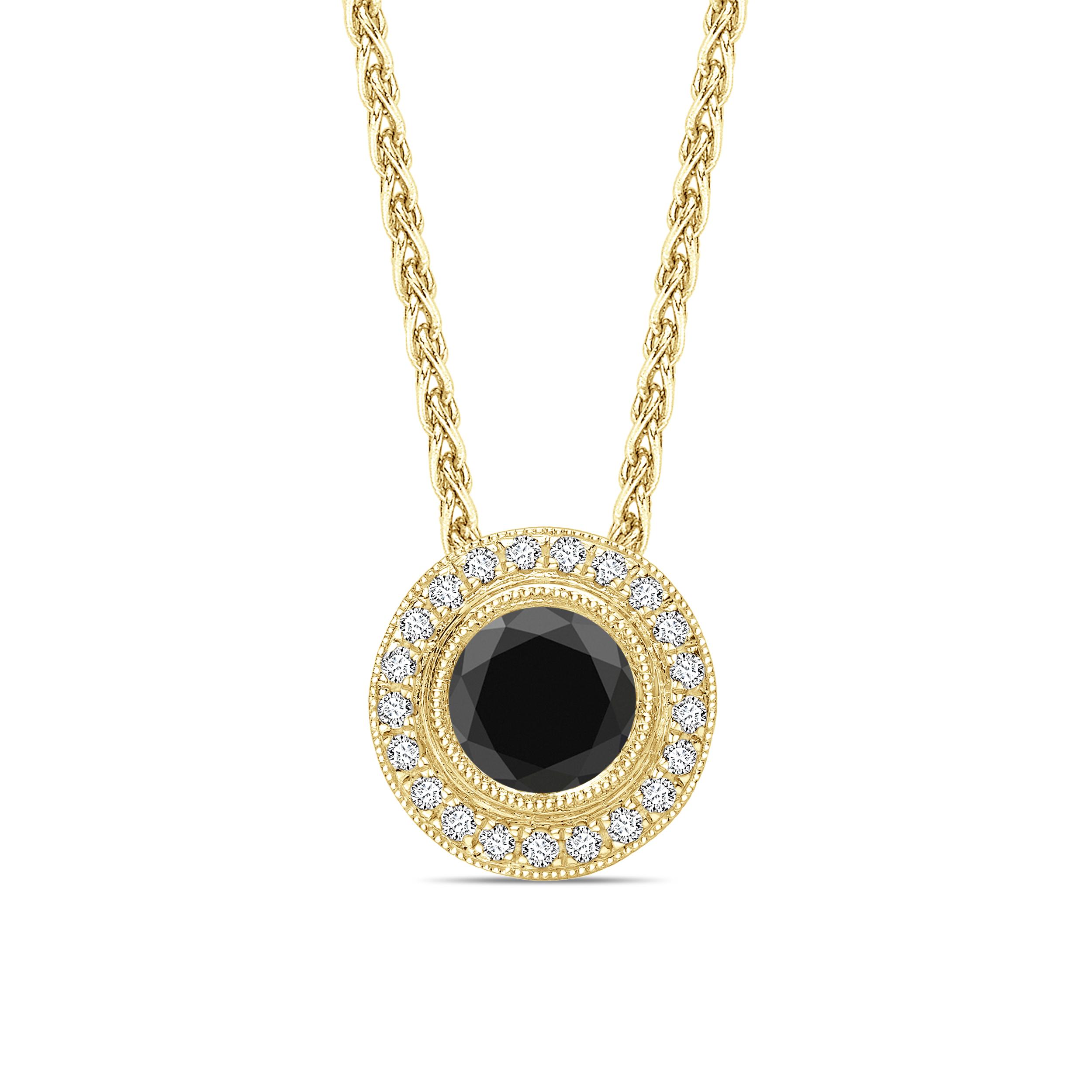 Round Cut Vintage Style Black Diamond Solitaire Pendants Necklace