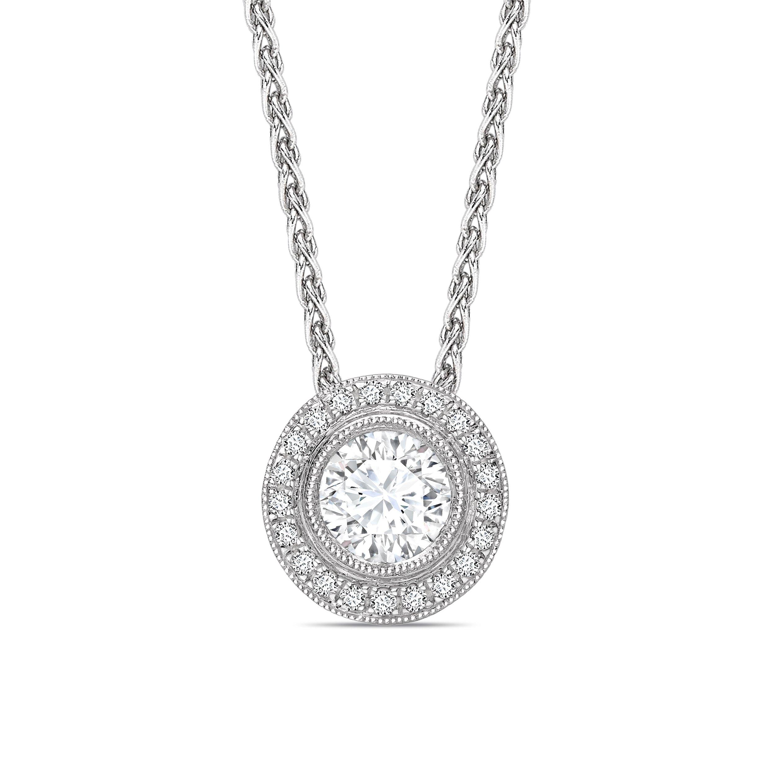 Vintage Style  Miligrain Sliding Round Shape Halo Diamond Pendant