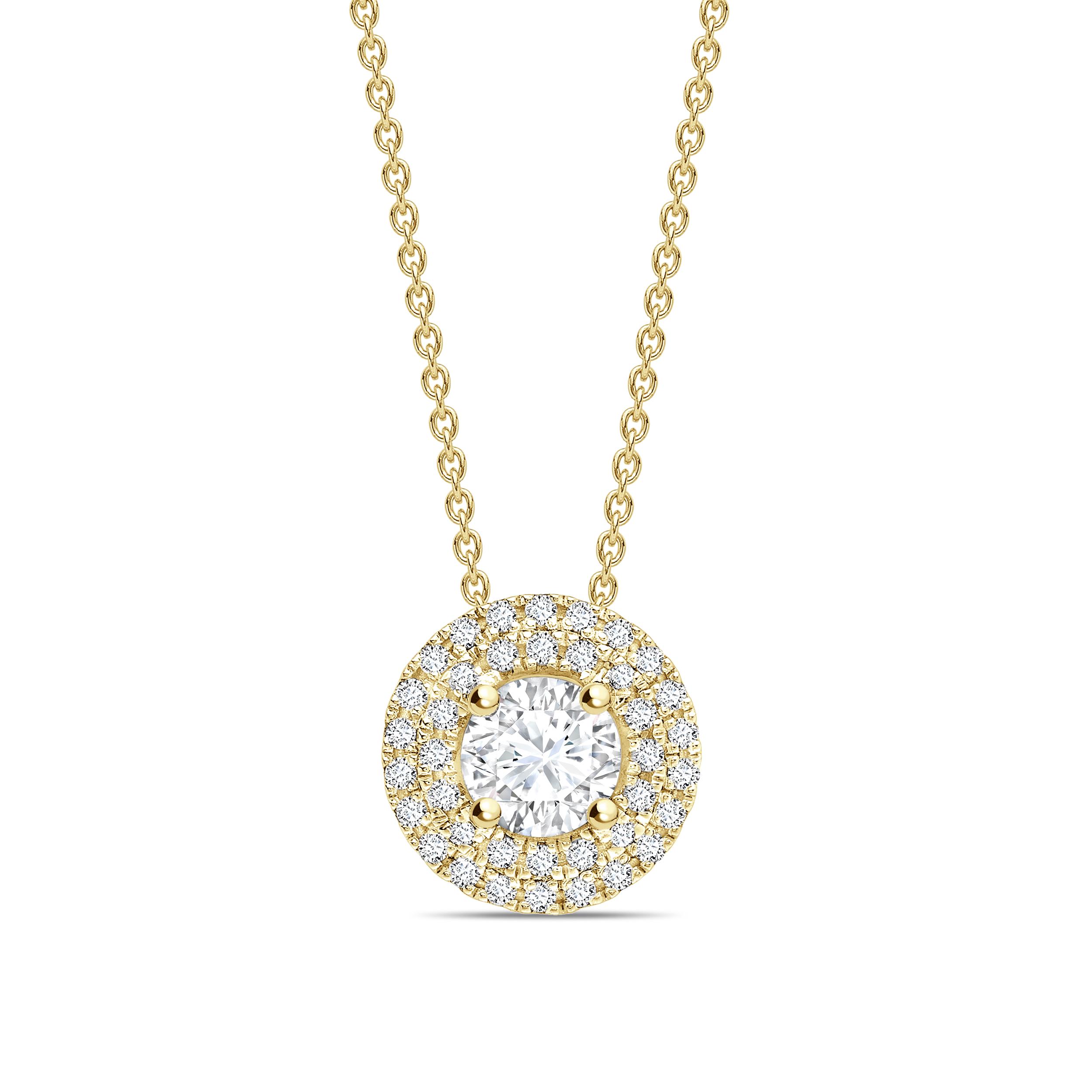 Double Raw Round Shape Halo Diamond Necklace Pendant