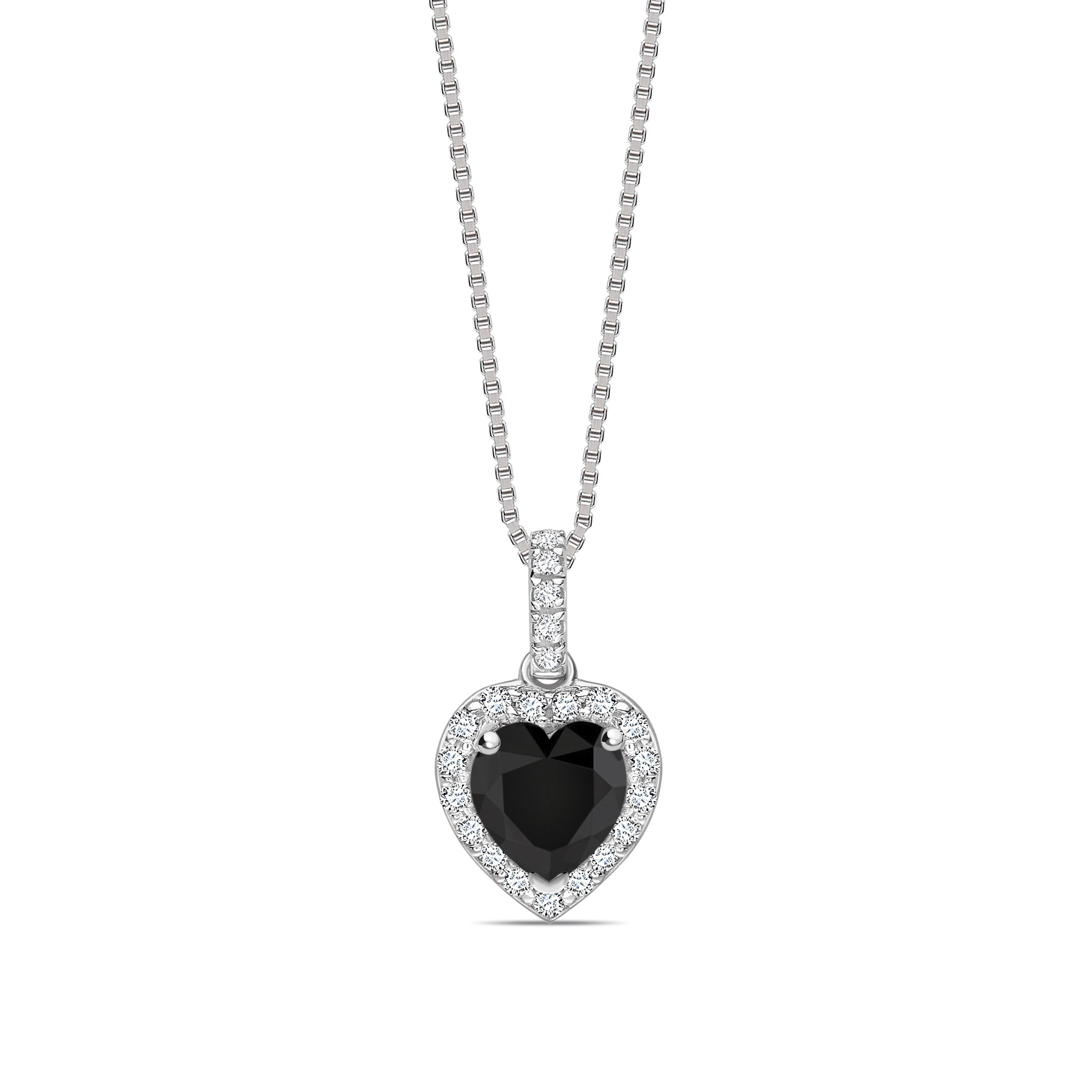 Heart Shape Halo Style Black Diamond Solitaire Pendants  Necklace