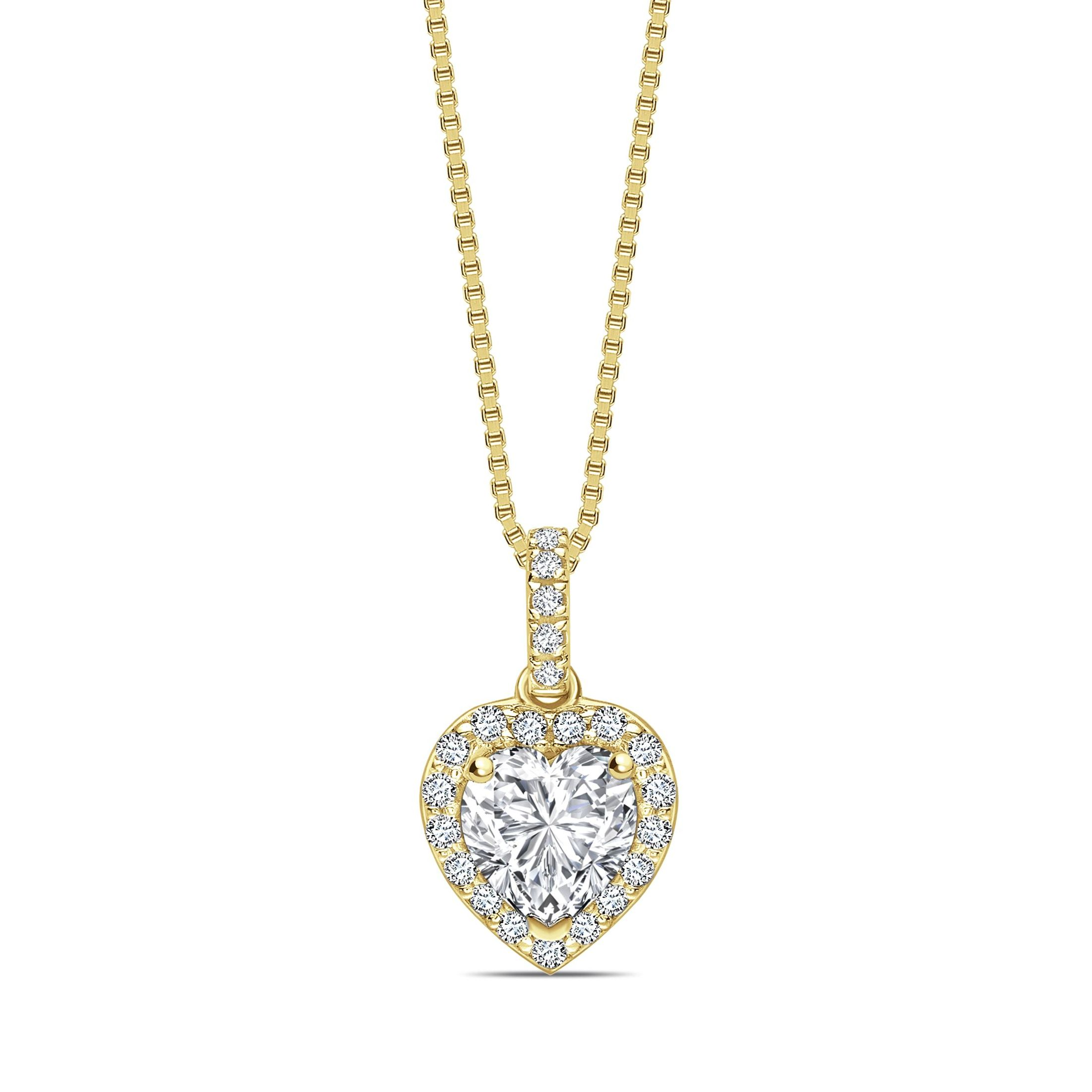 Studded Loop Dangling Heart Shape Halo Diamond Necklace