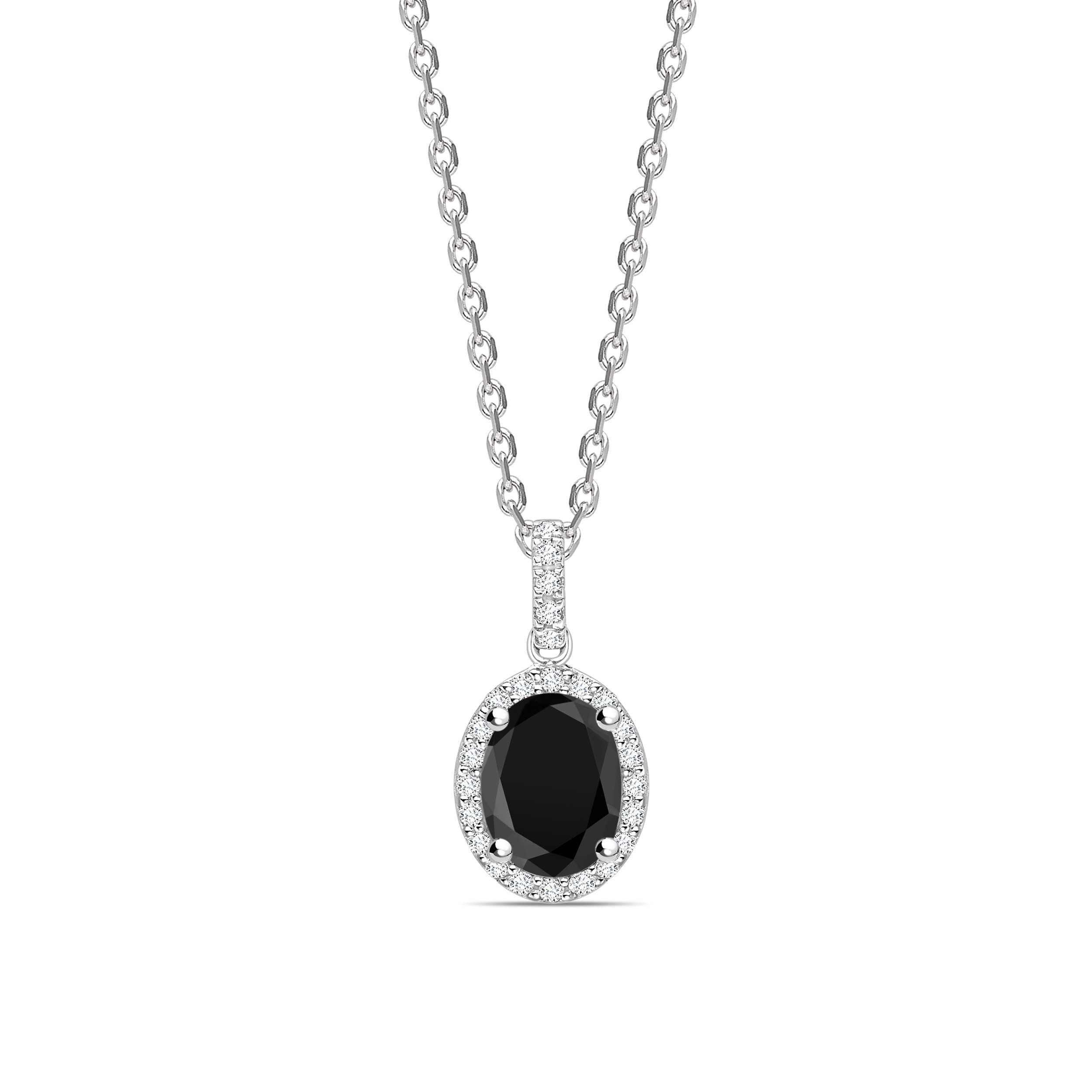 Classic Style Oval Shape Black Diamond Solitaire Pendants Necklace