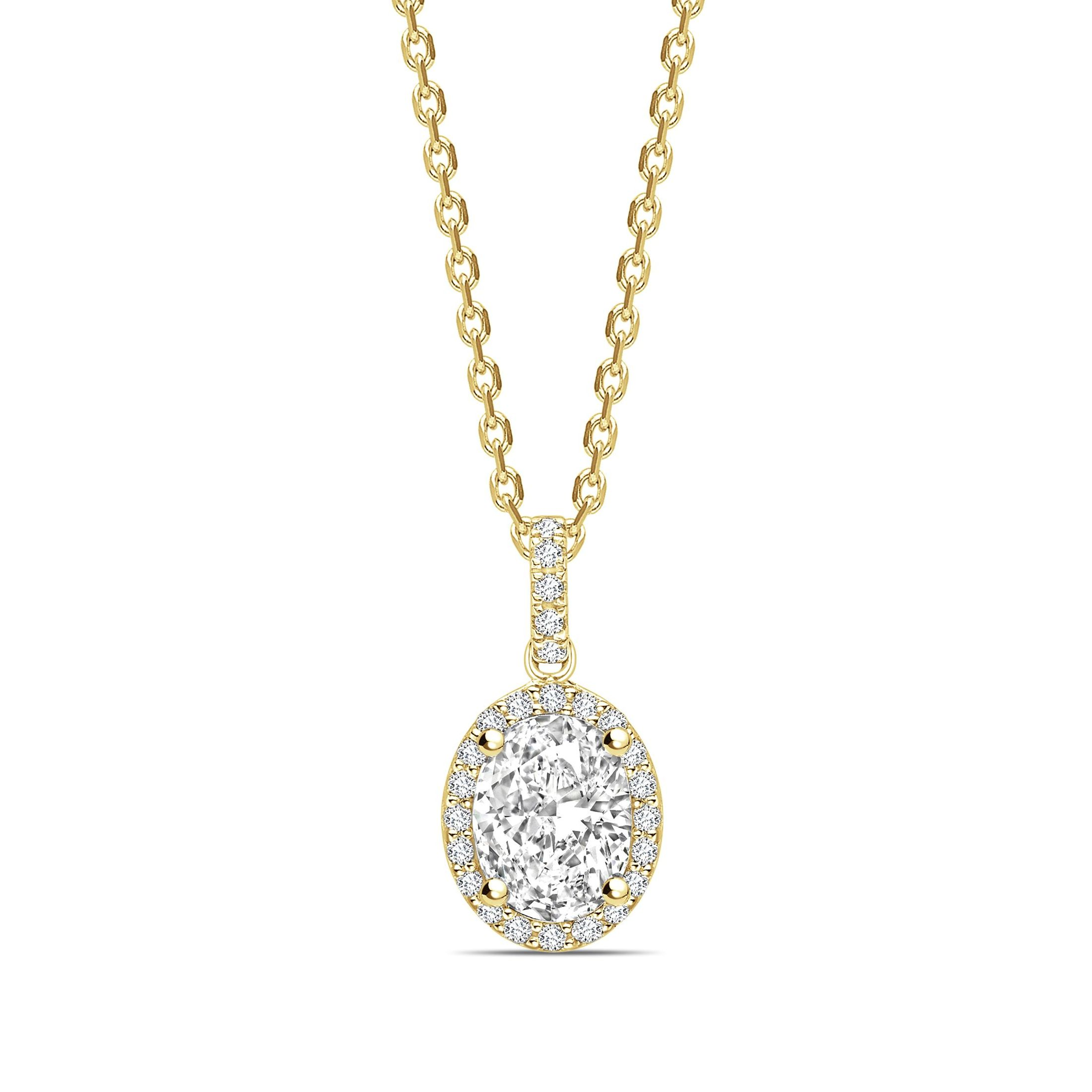 Classic Dangling Oval Shape Halo Diamond Necklace