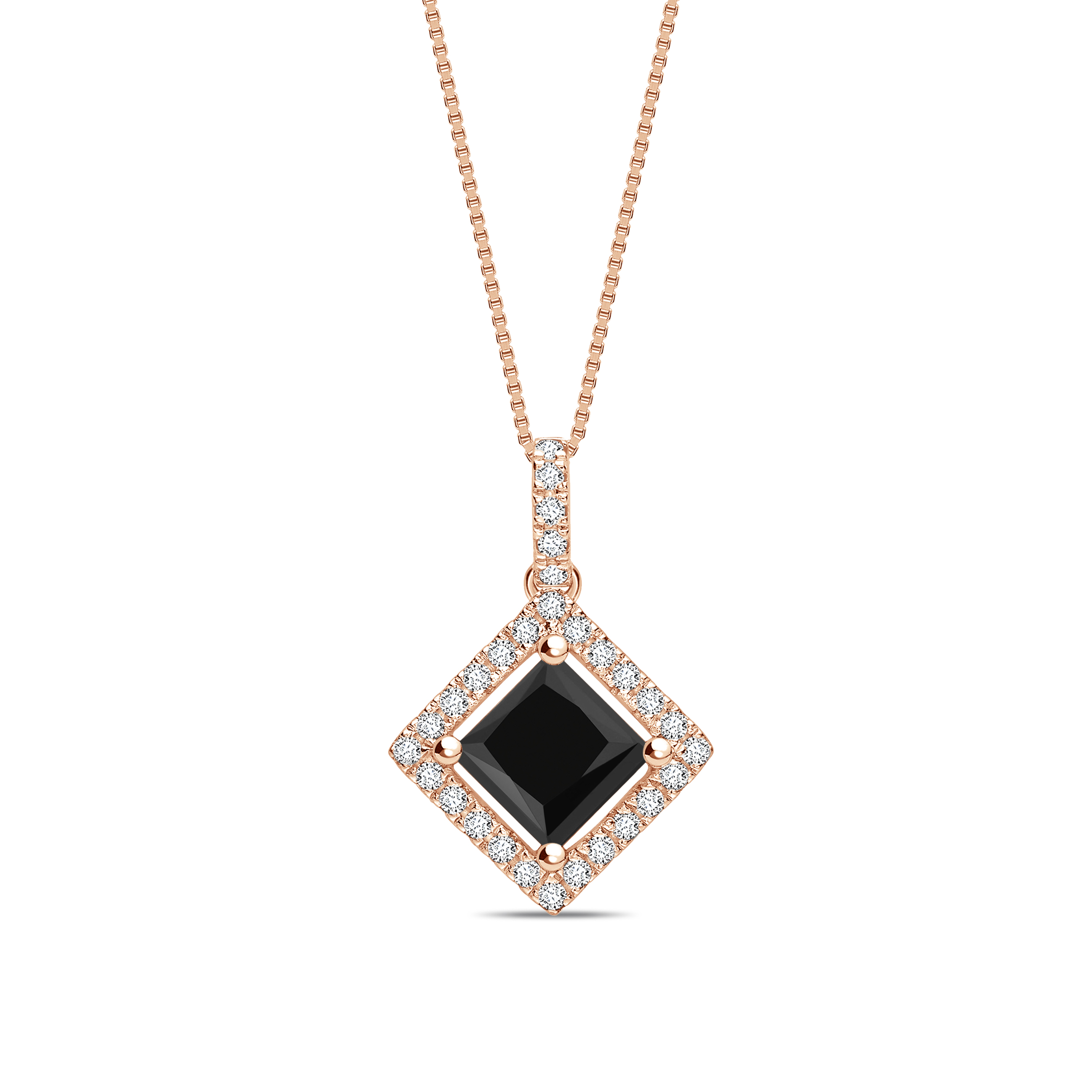 Princess Cut Halo Style Black Diamond Solitaire Pendants Necklace