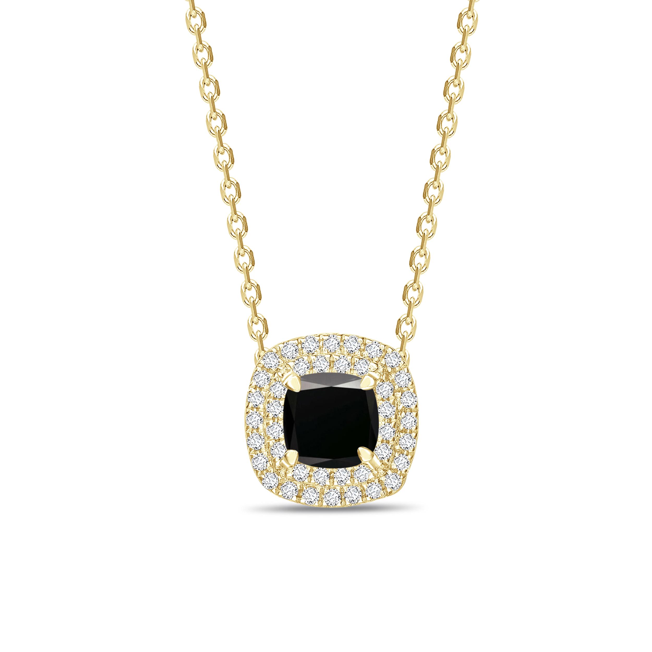 Halo Style Pricess Shape Black Diamond Solitaire Pendants Necklace