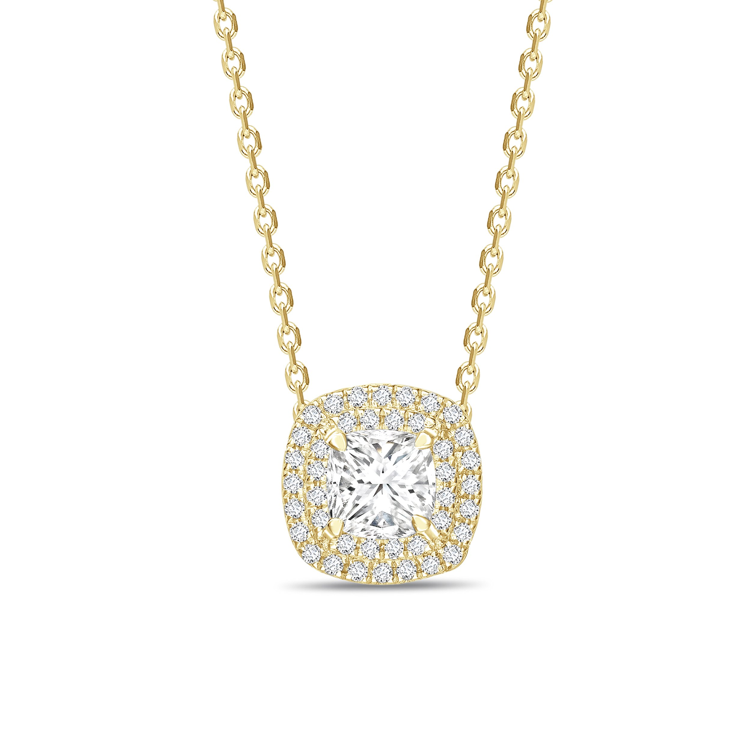Double Raw Sliding Princess Shape Halo Diamond Necklace