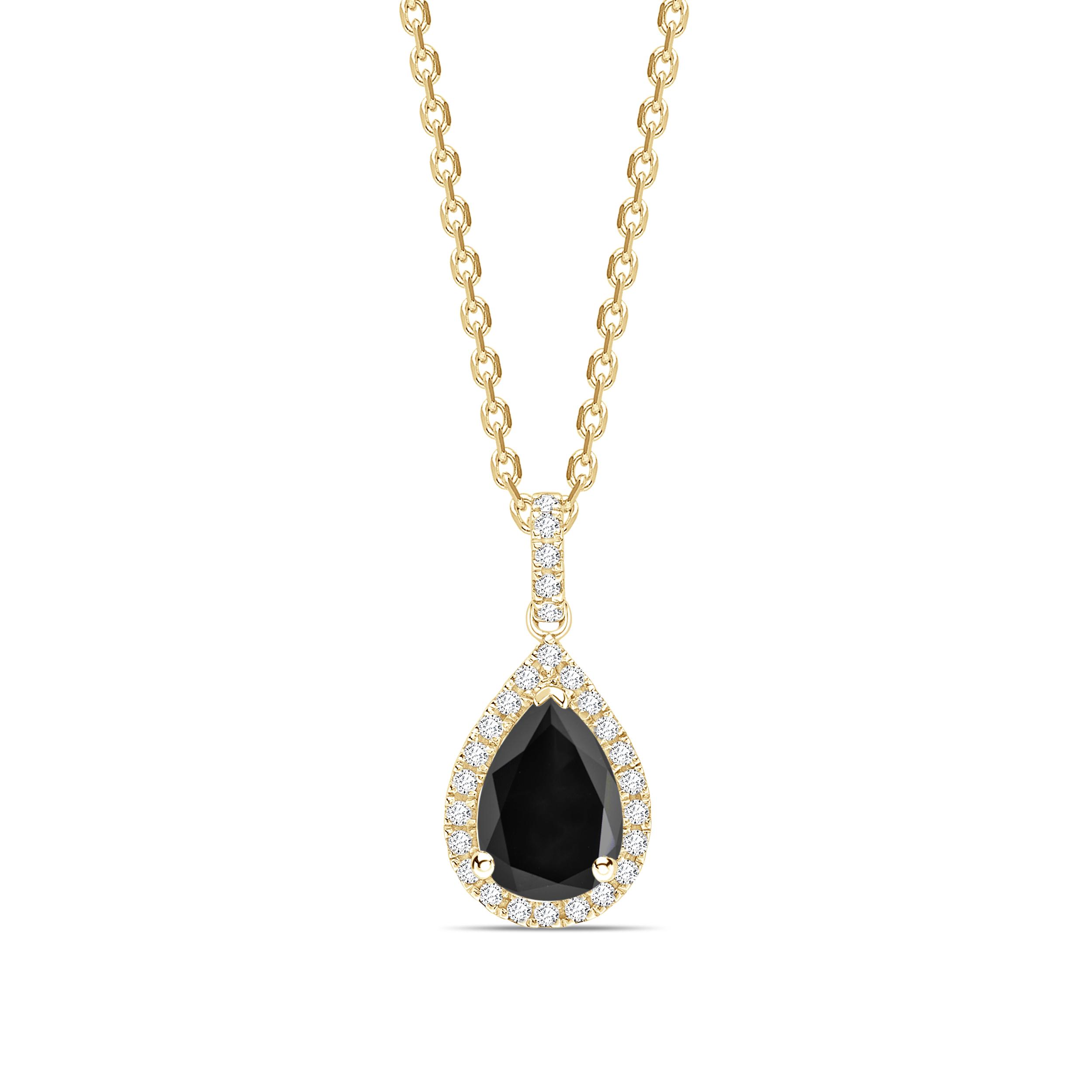 Halo Style Pear Cut Black Diamond Solitaire Pendants Necklace