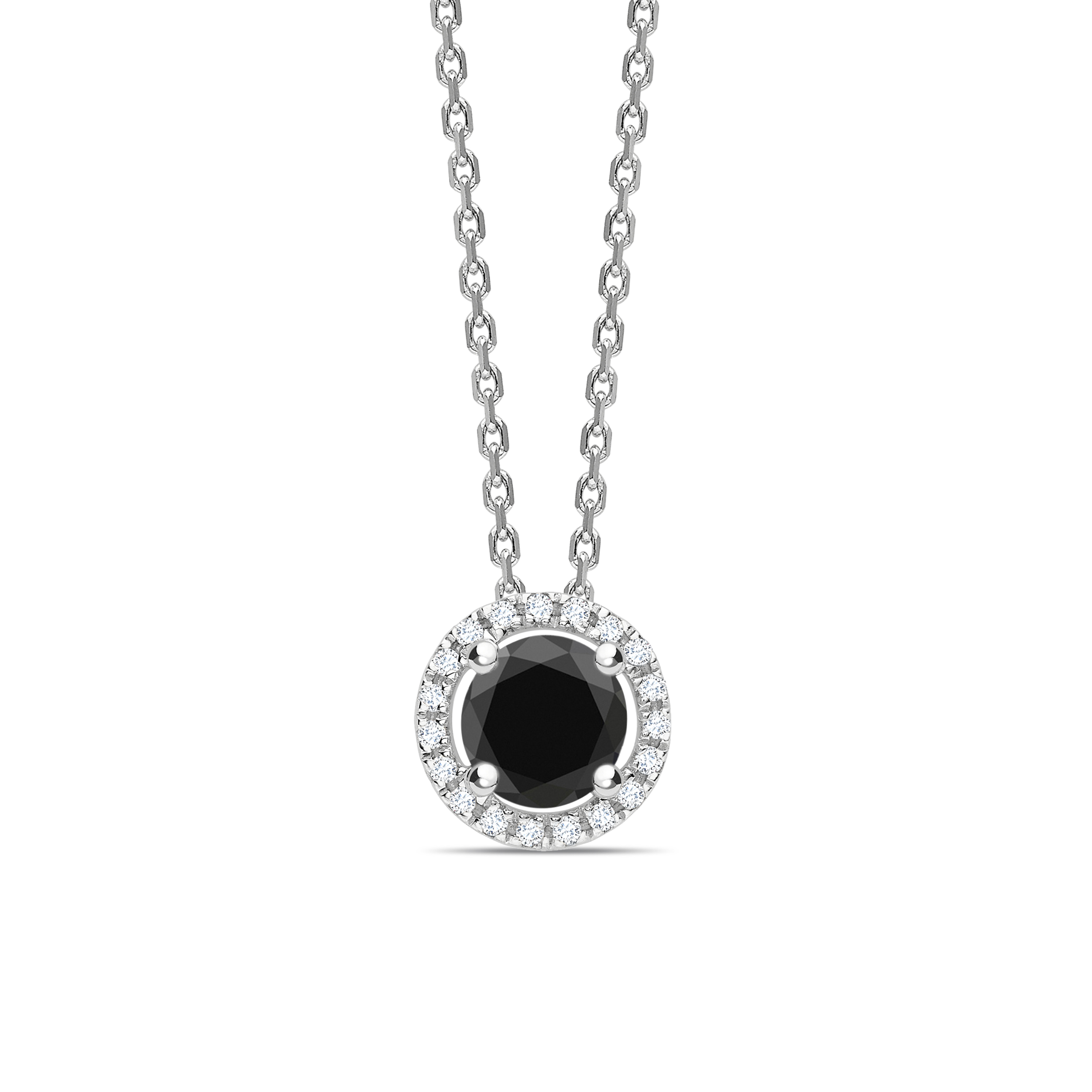 Halo Style Black Diamond Solitaire Pendants Necklace in Round Cut