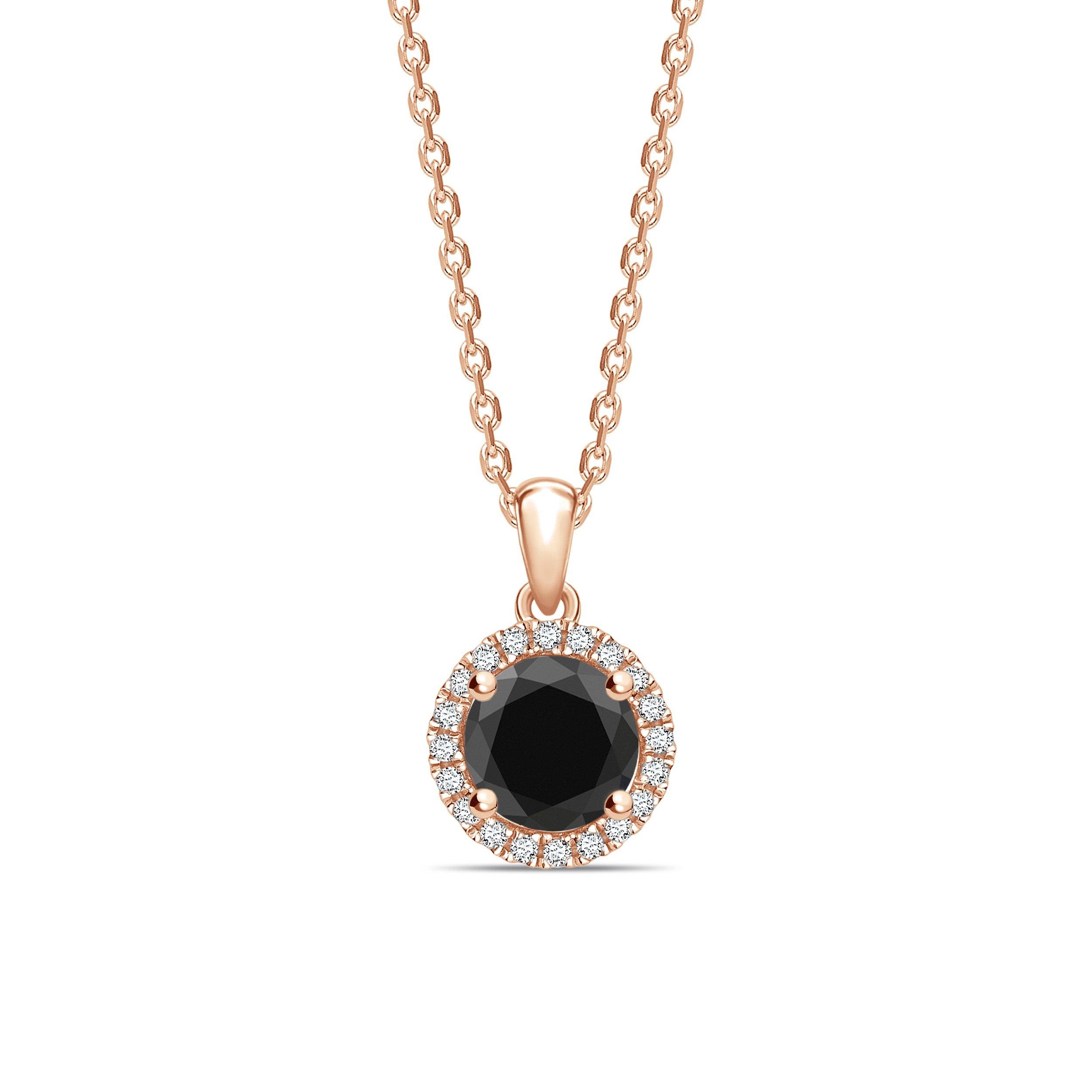 Halo Black Diamond Solitaire Pendants Necklace in Classic Round Cut