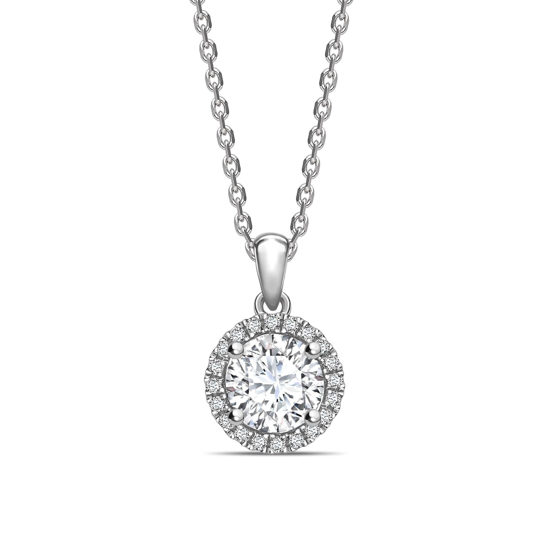 Classic Dangling Round Shape Halo Diamond Necklace