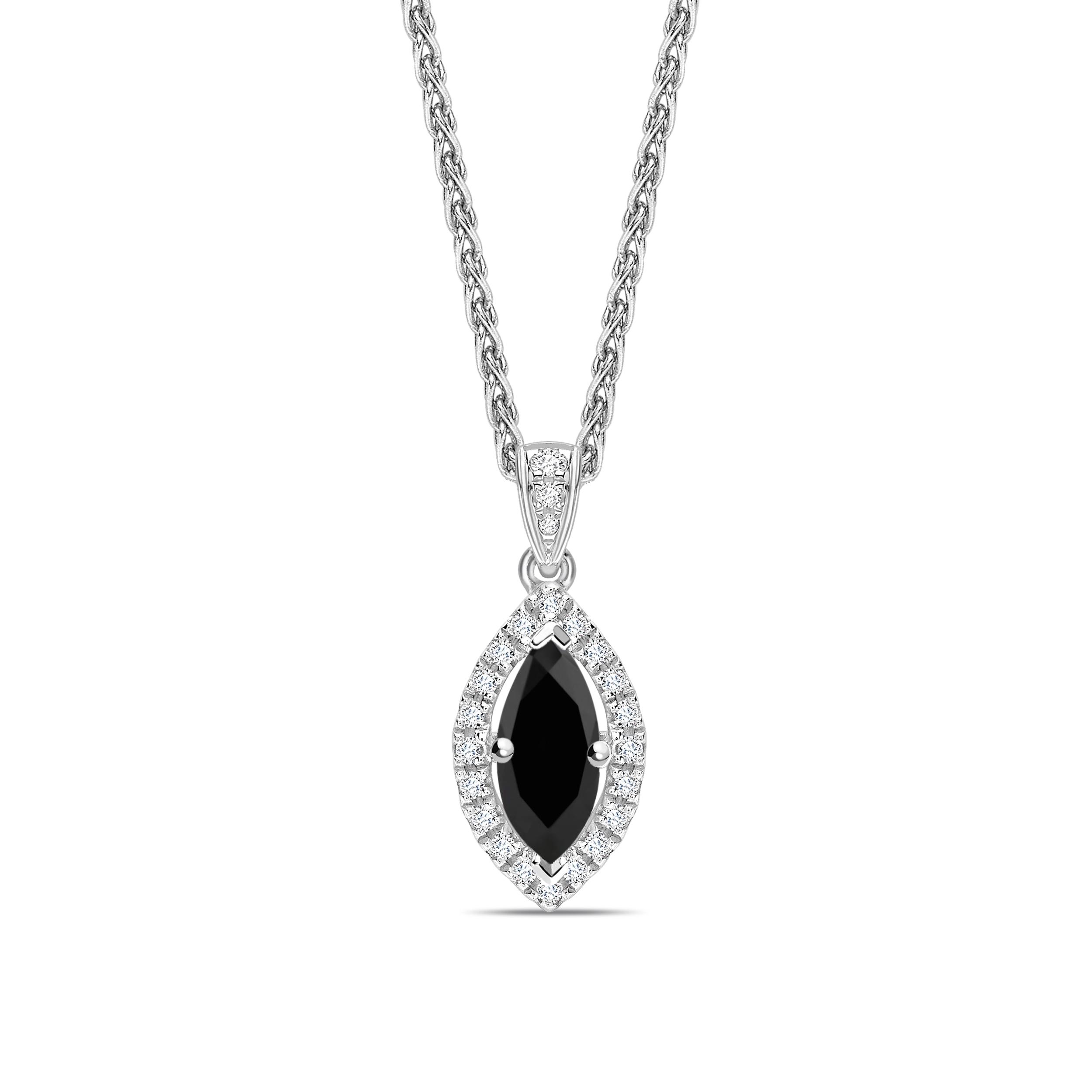 Marquise Shape Halo Style Black Diamond Solitaire Necklace Pendants