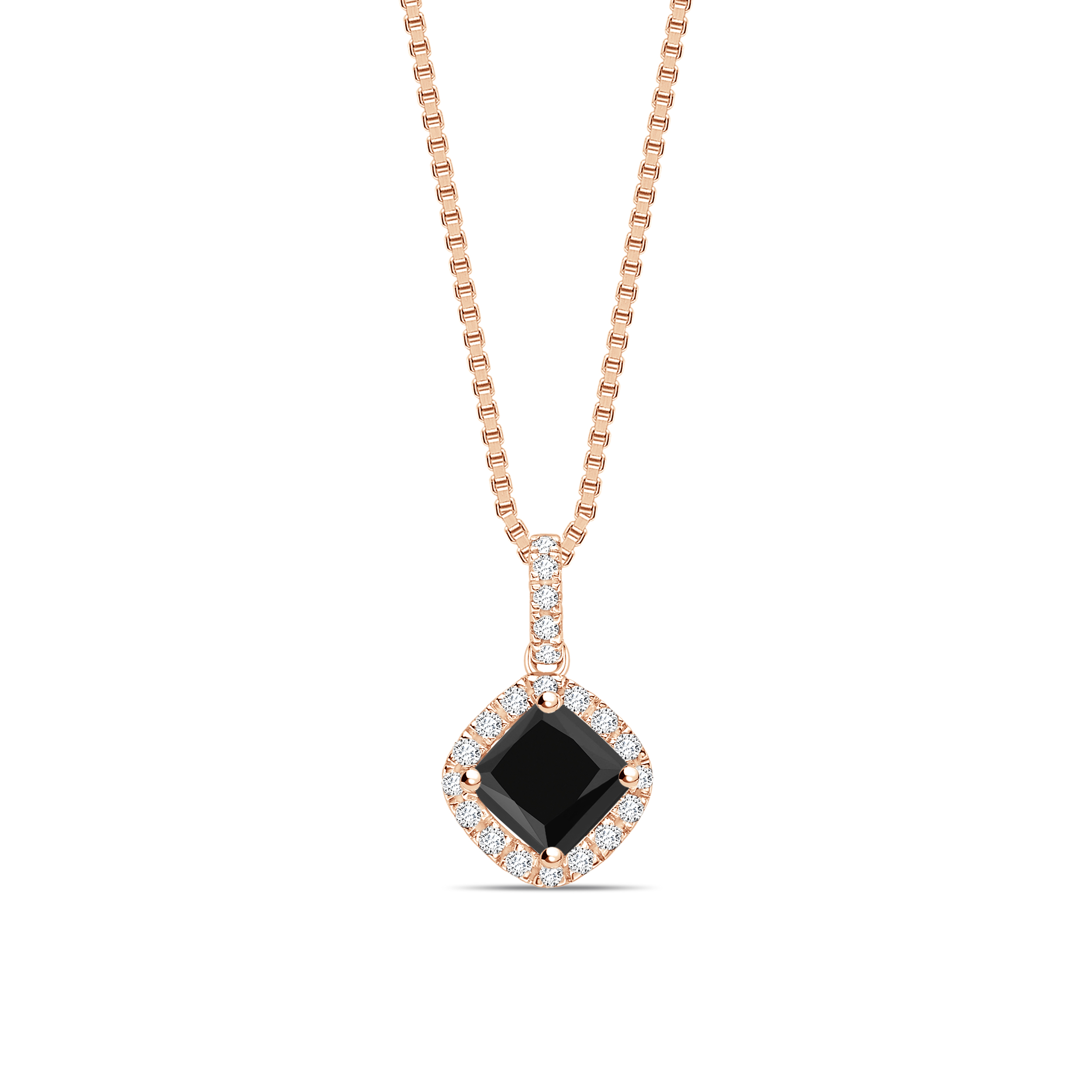 Smooth Corner Princess Cut Halo Black Diamond Solitaire Pendants Necklace
