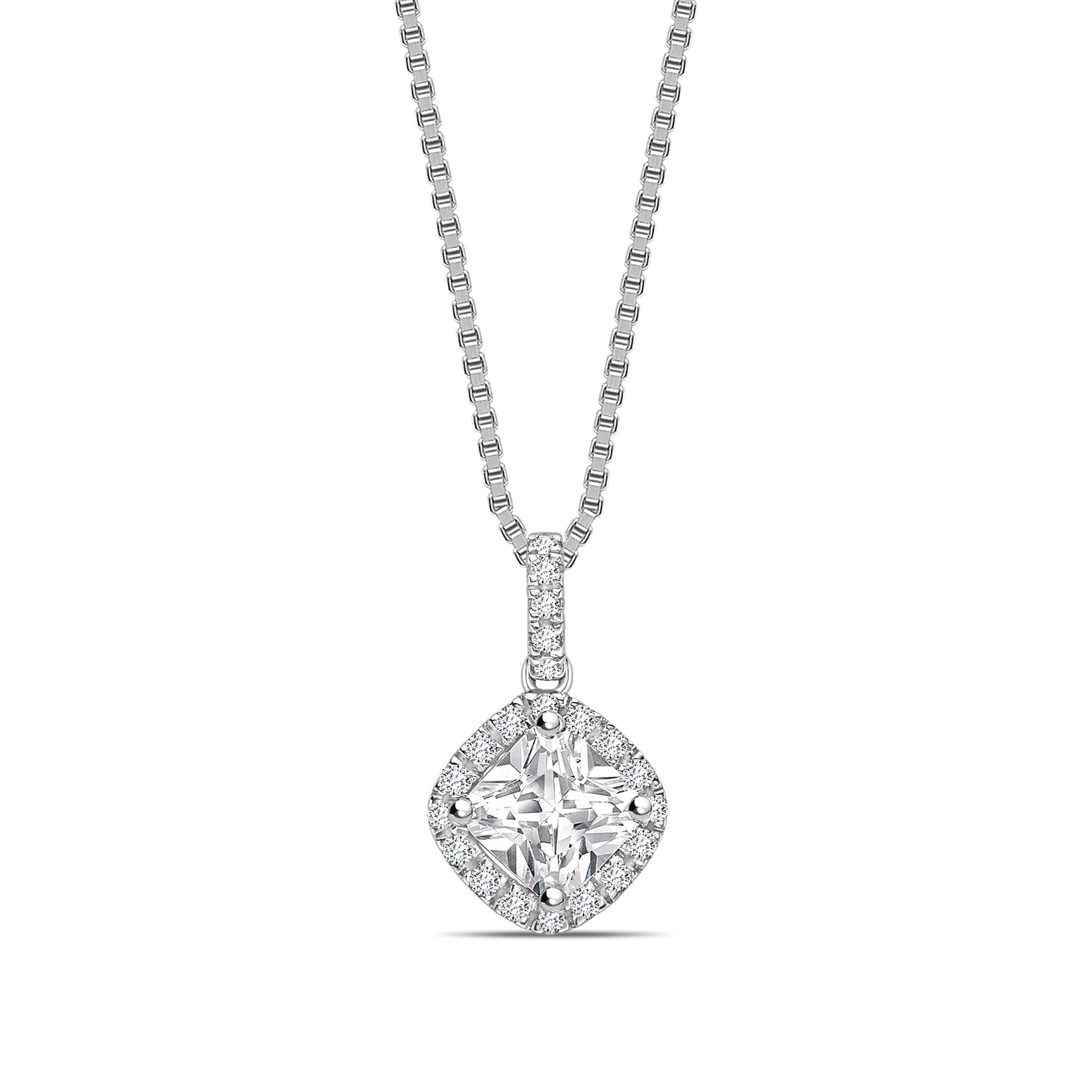 Smooth Corner Dangling Princess Shape Halo Diamond Necklace