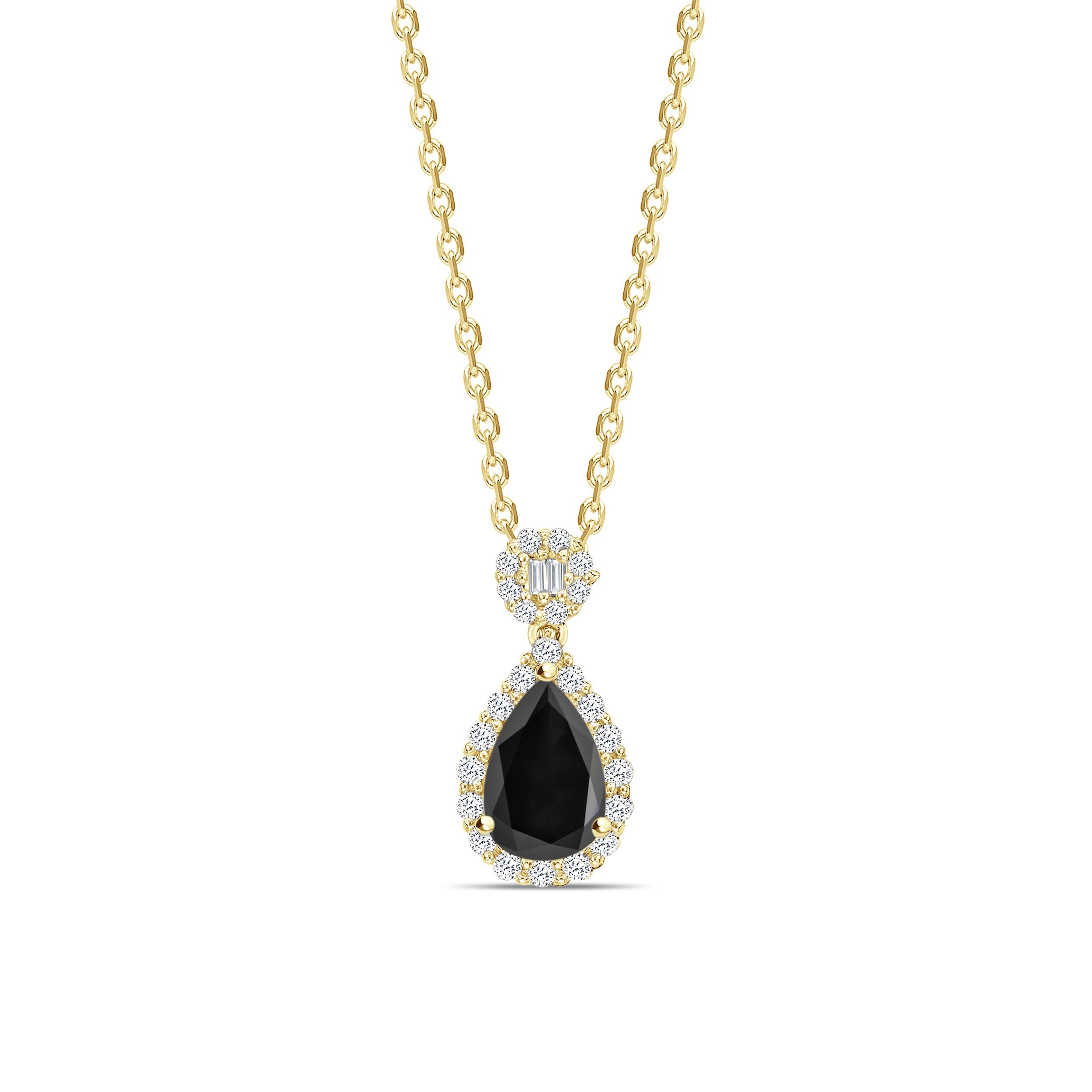 Pear Cut Unique Desing Black Daimond Solitaire Pendants Necklace
