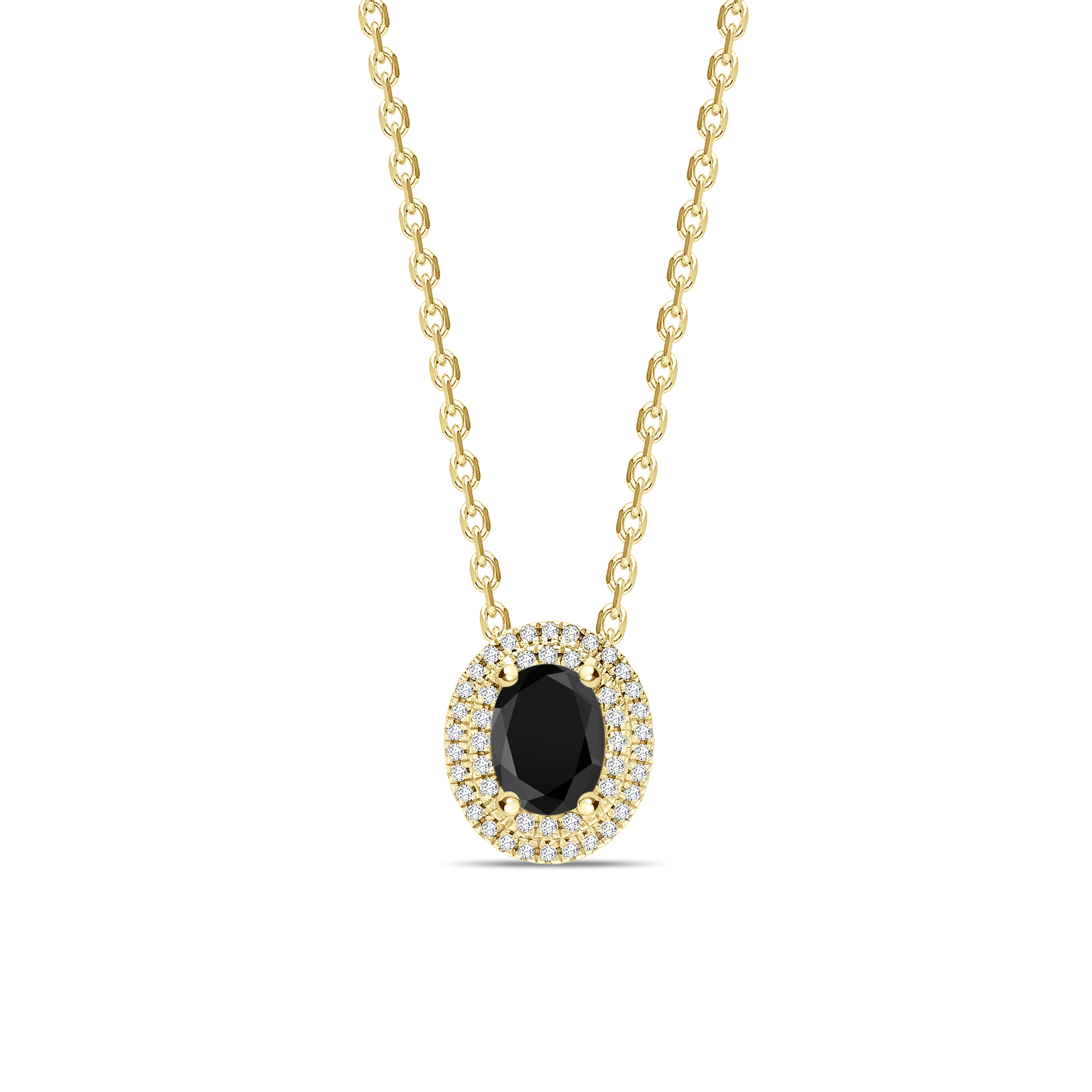 Oval Cut Halo Style Black Diamond Solitaire Pendants Necklace