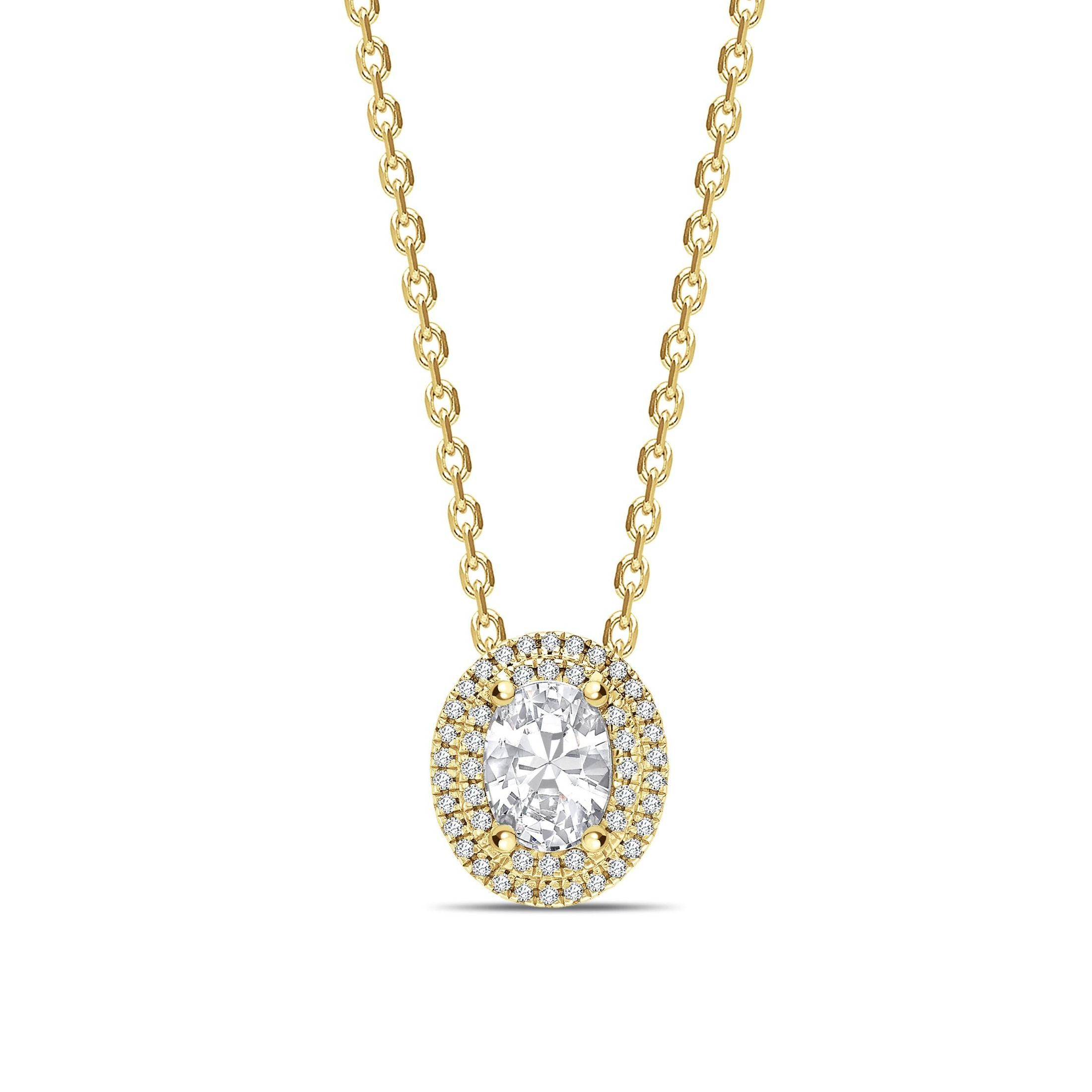 Double Raw Sliding Oval Shape Halo Diamond Pendant