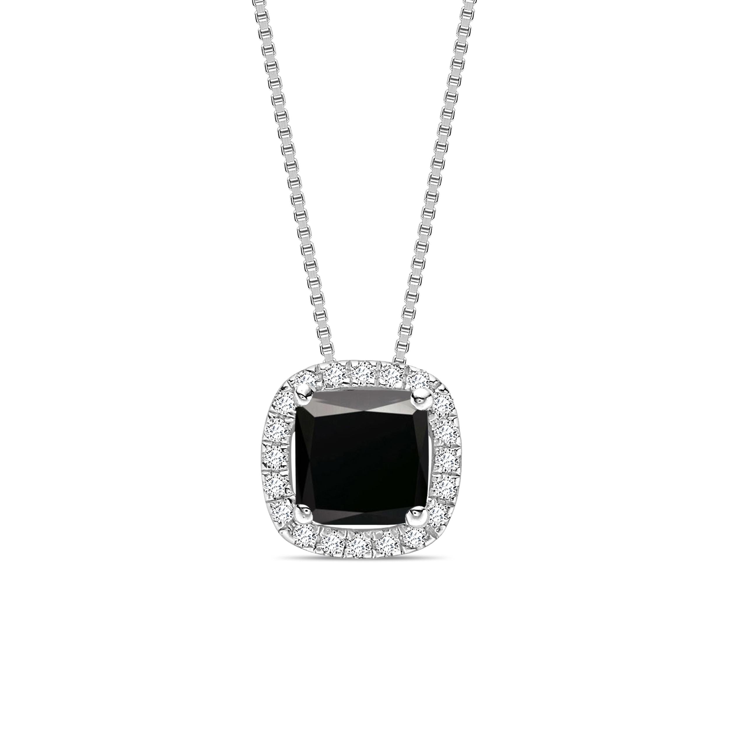 Princess Cut Sliding  Style Black Diamond Solitaire Pendants Necklace