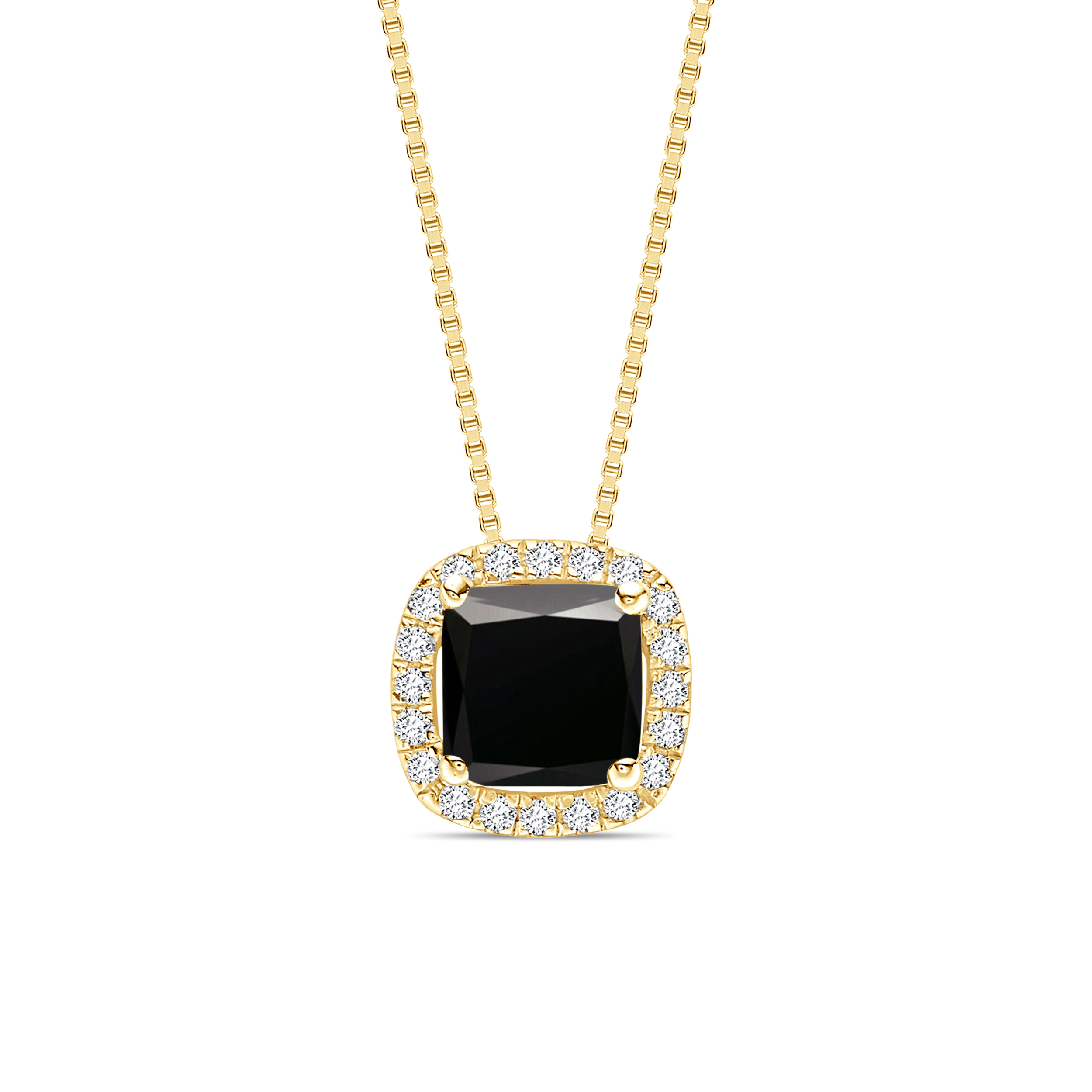 Princess Cut Sliding  Style Black Diamond Solitaire Pendants Necklace