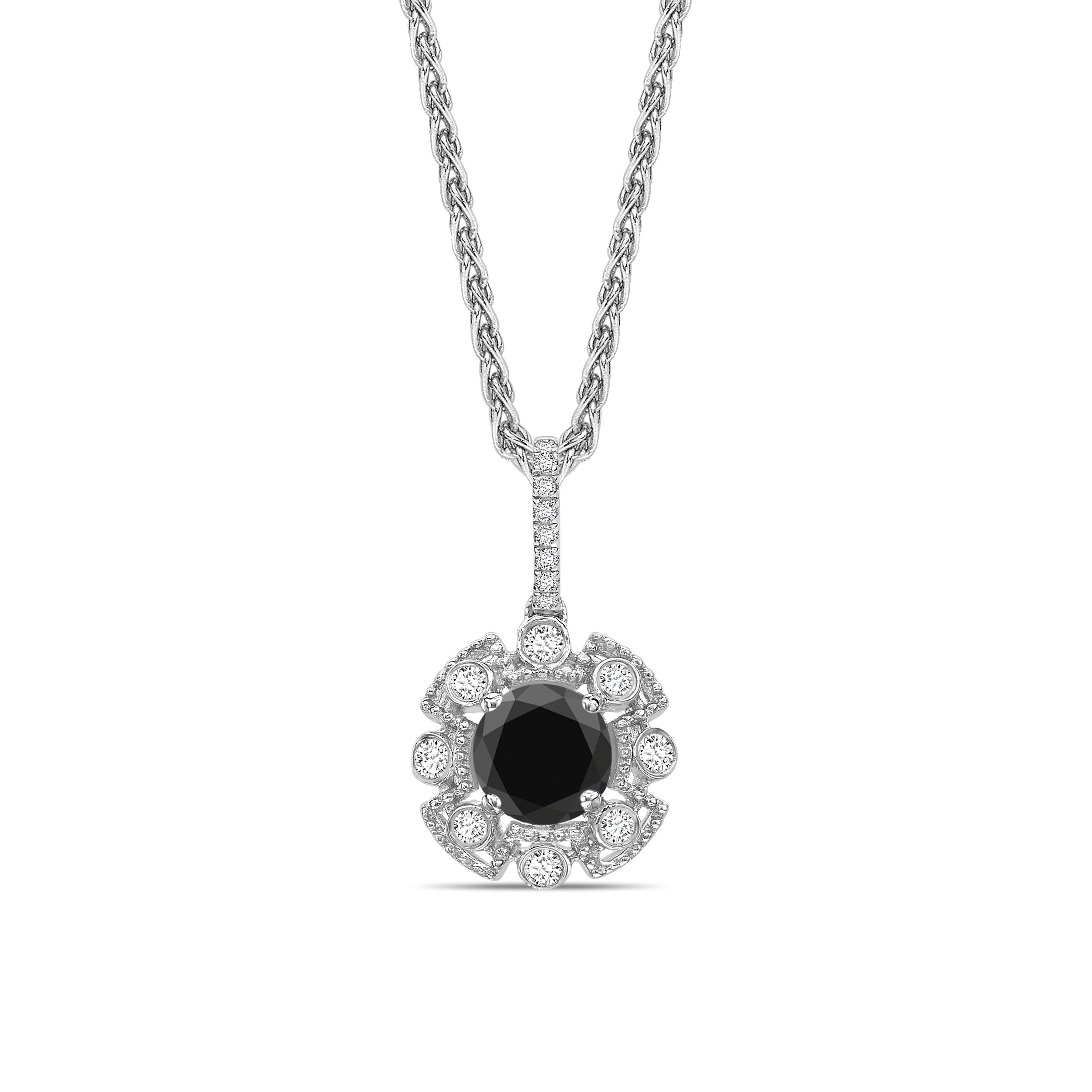 Halo Design Vintage Style Black Diamond Solitaire Pendants Necklace