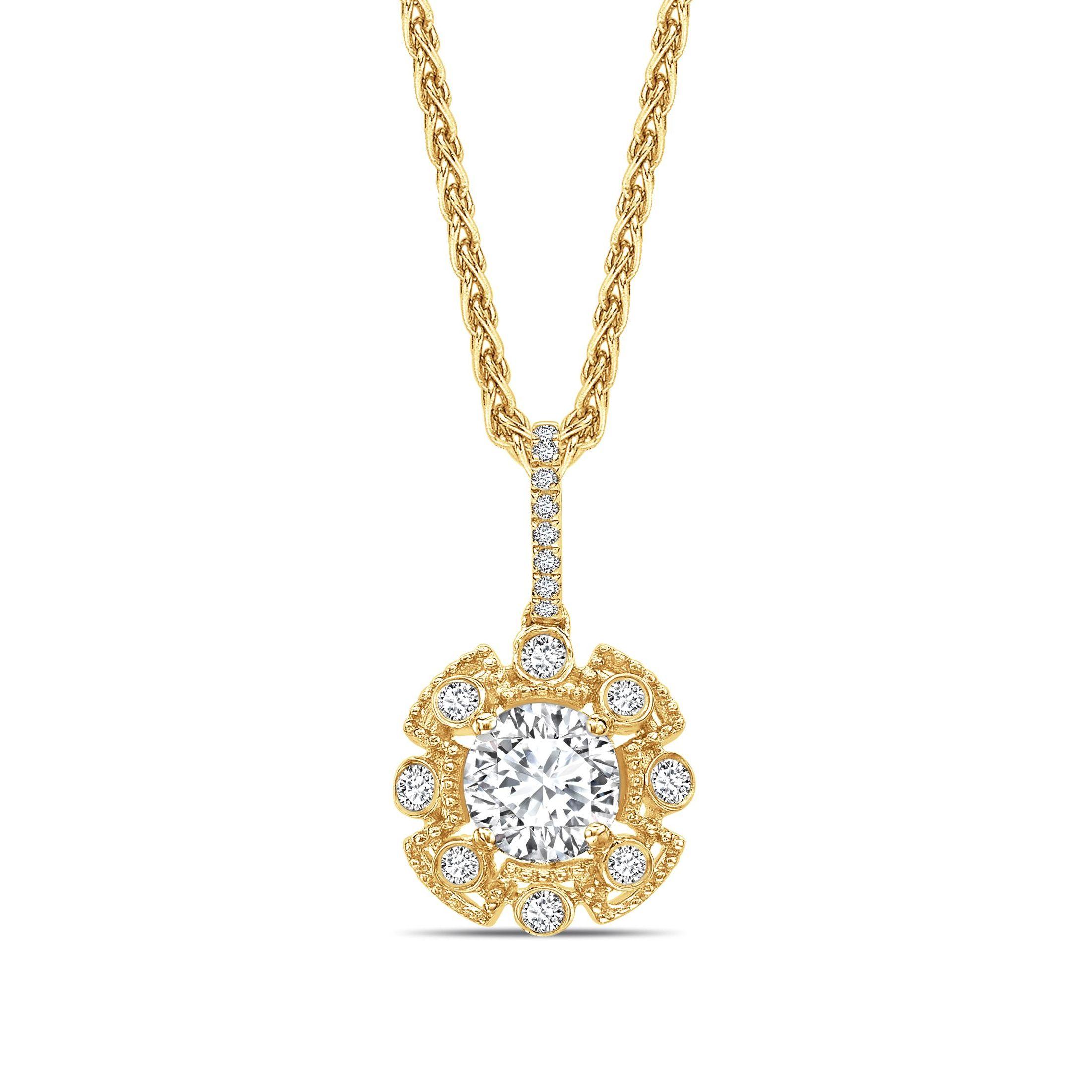 Vintage Style Round Shape Halo Diamond Necklace