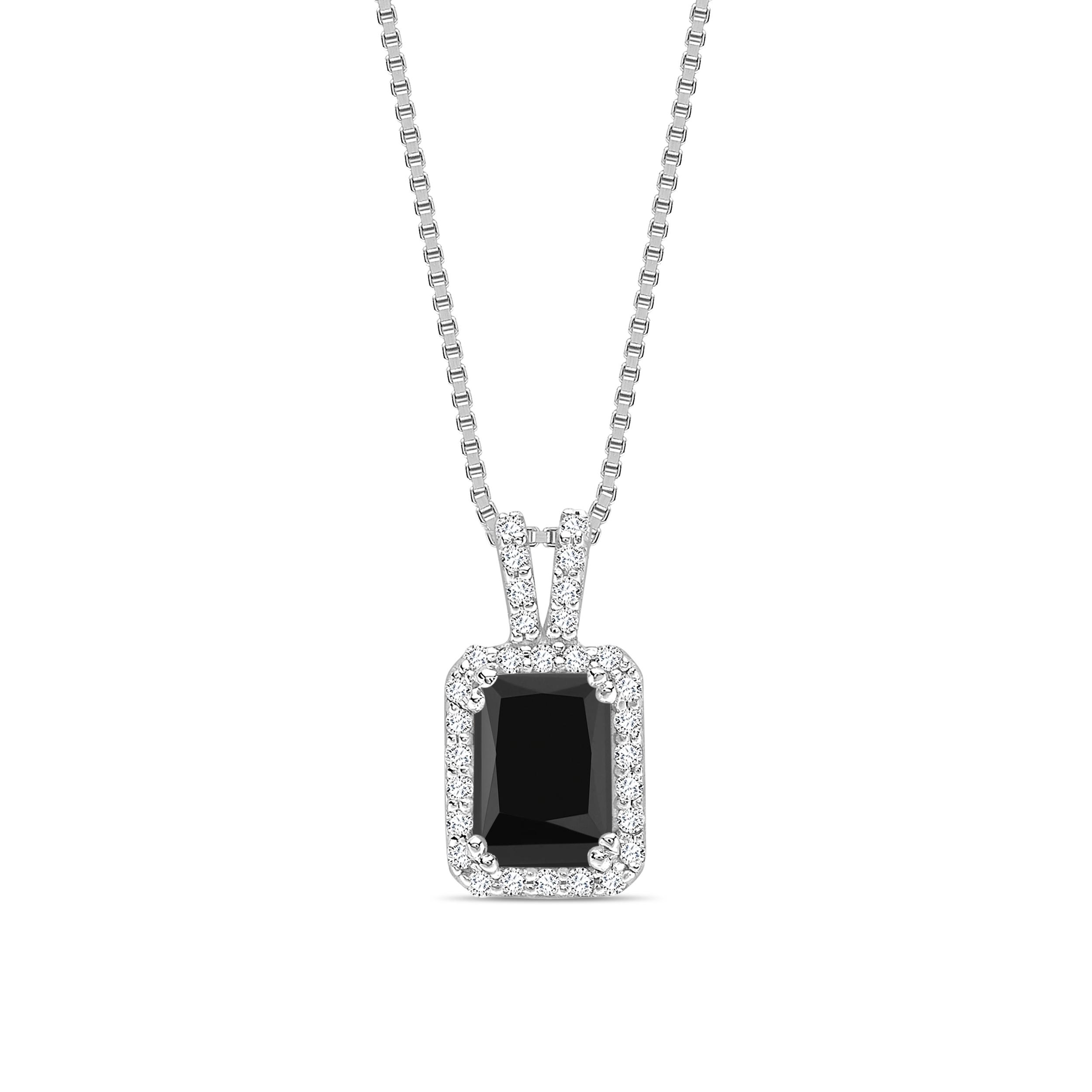 Emerald Shape Black Diamond Solitaire Pendants Necklace