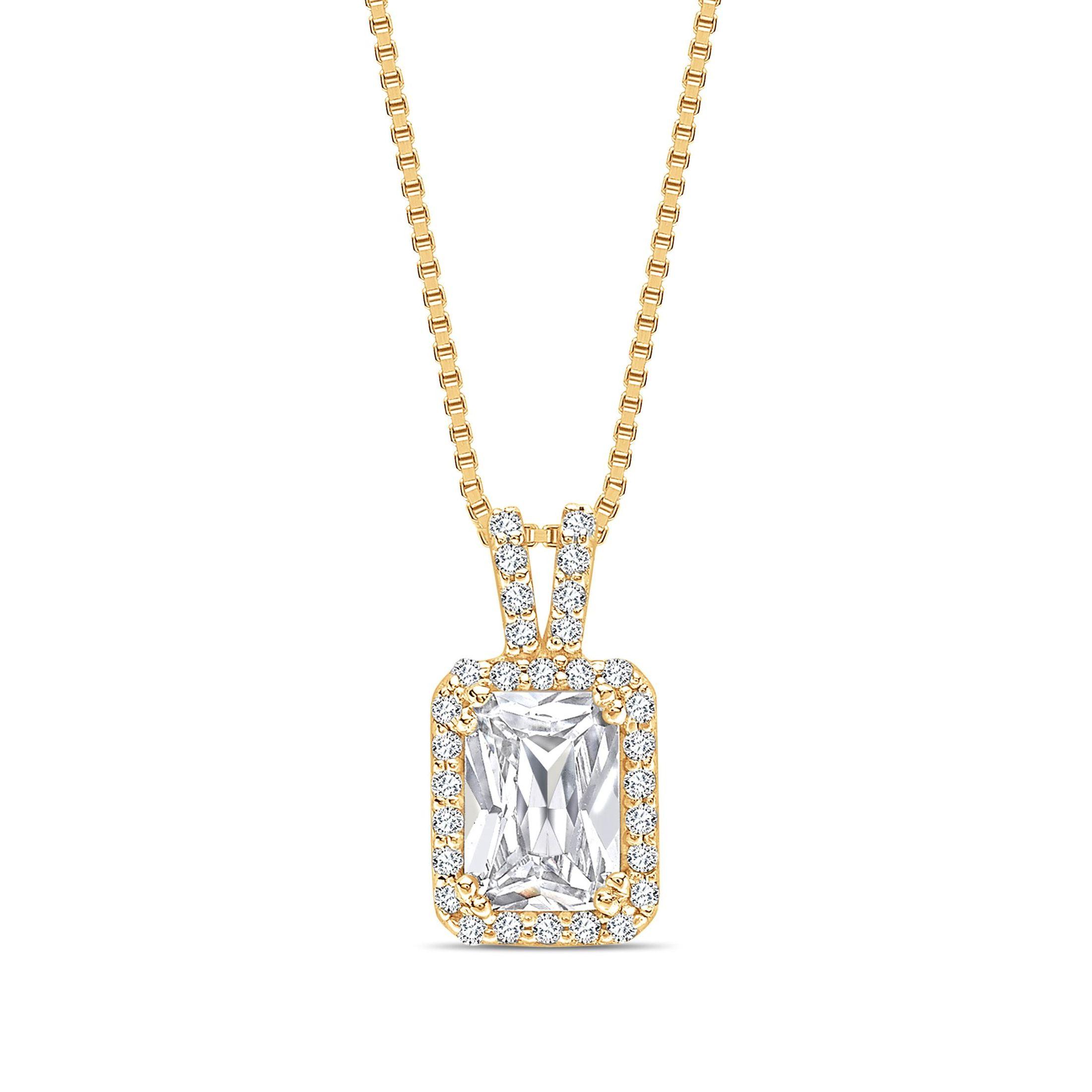 Diamond Set V Bale Radiant Shape Halo Diamond Pendant