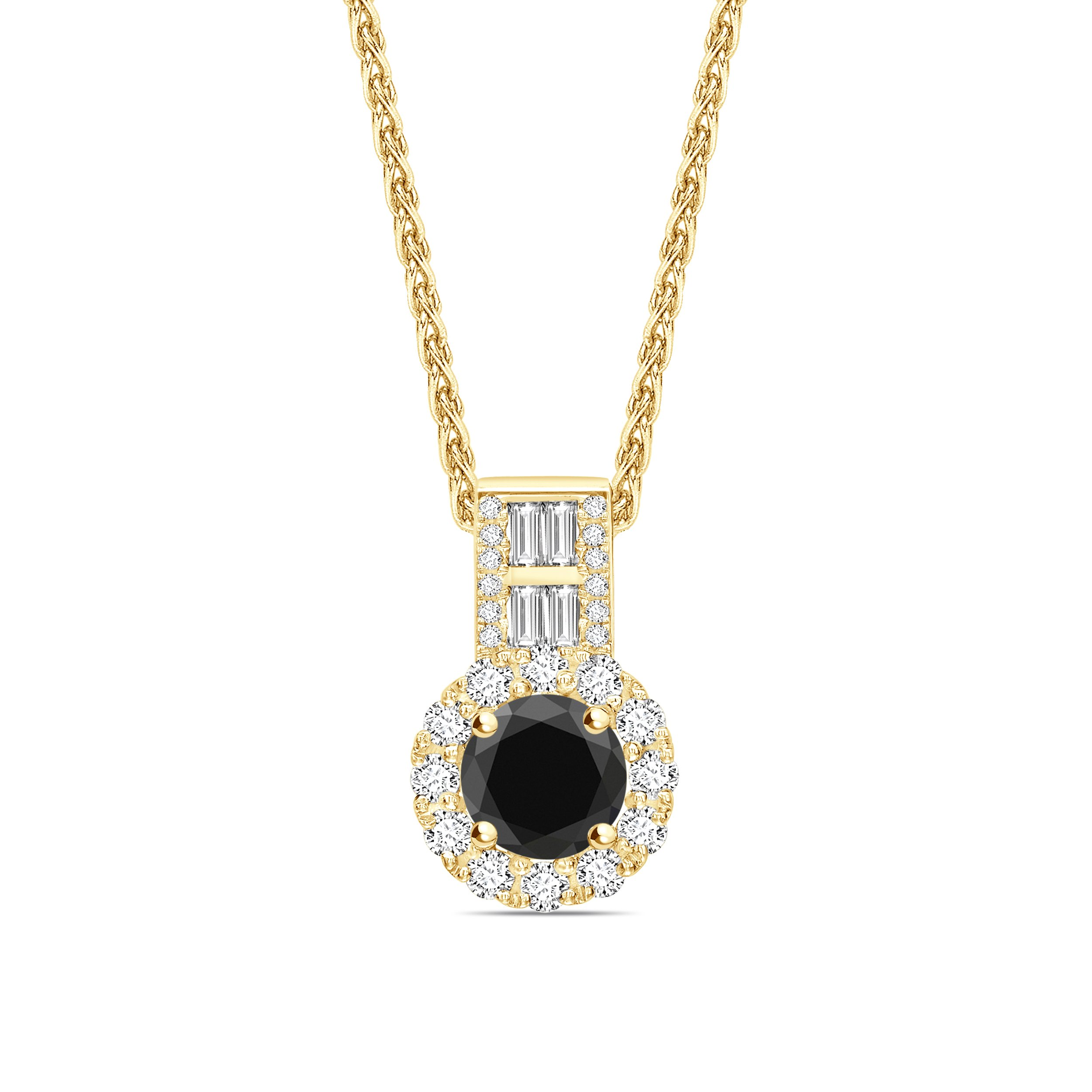 Halo Style Baguette Set Black Diamond Solitaire Pendants Necklace