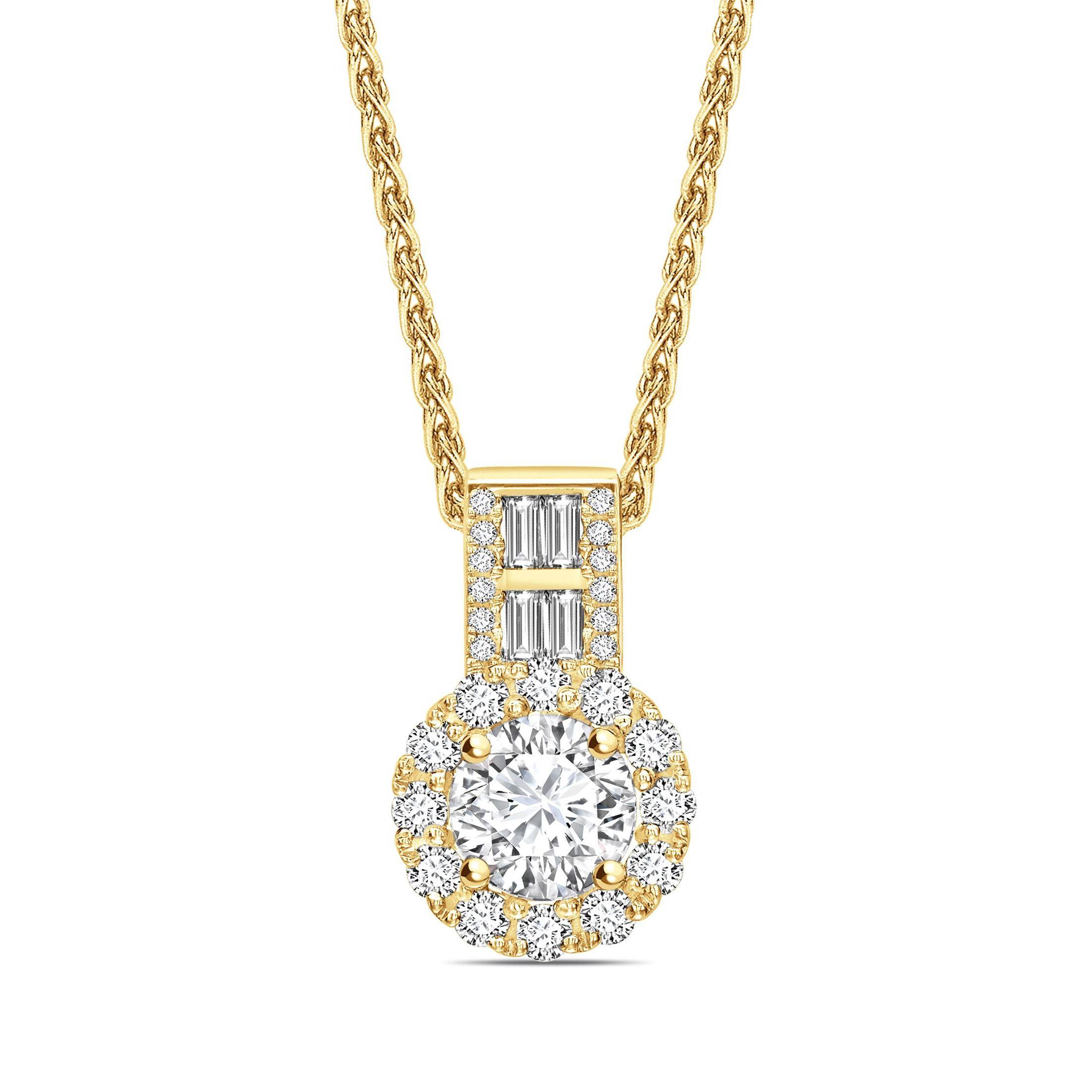 Baguette Set Bale Round Shape Halo Diamond Necklace