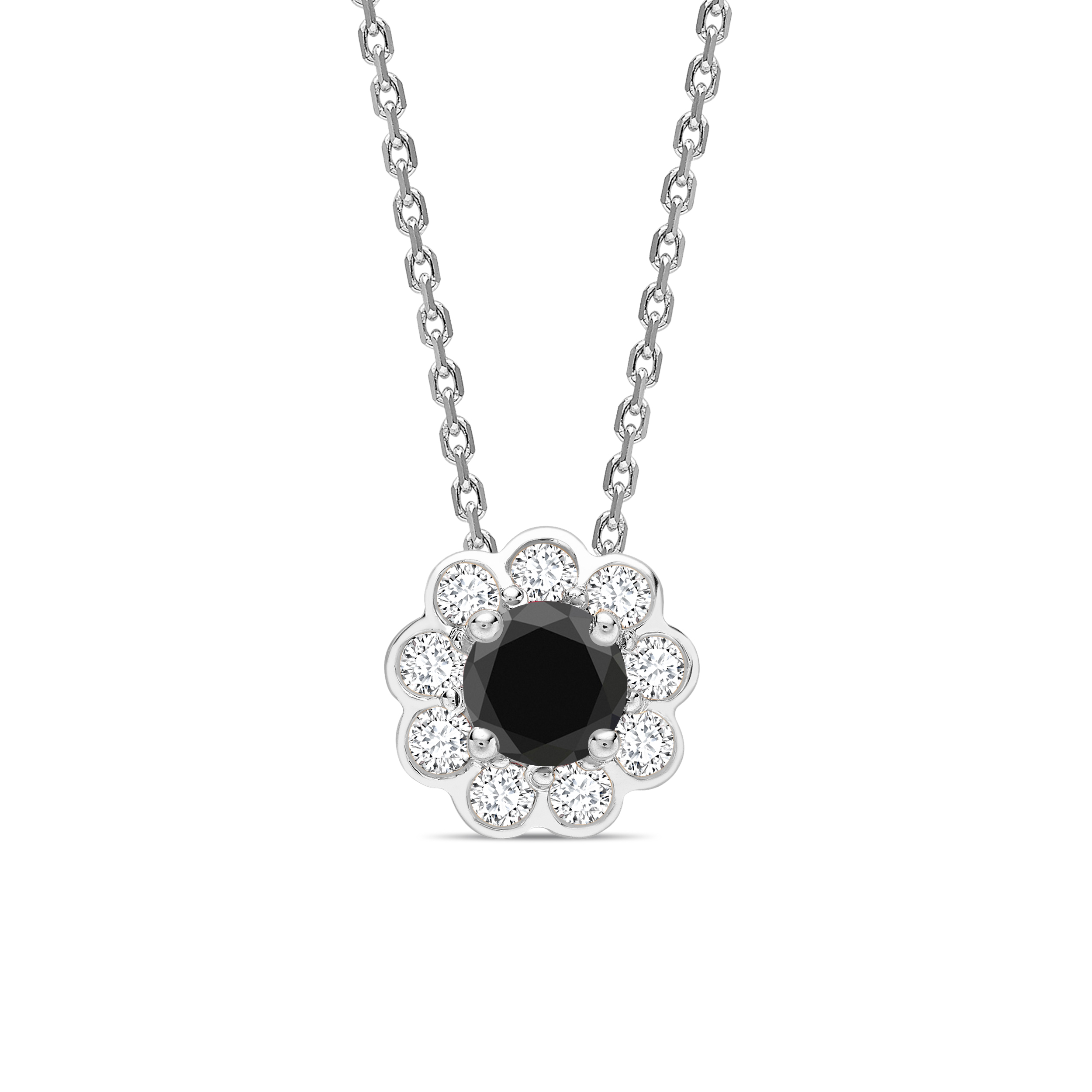 Round Cut Bezel Set Halo Style Black Diamond Solitaire Pendants Necklace