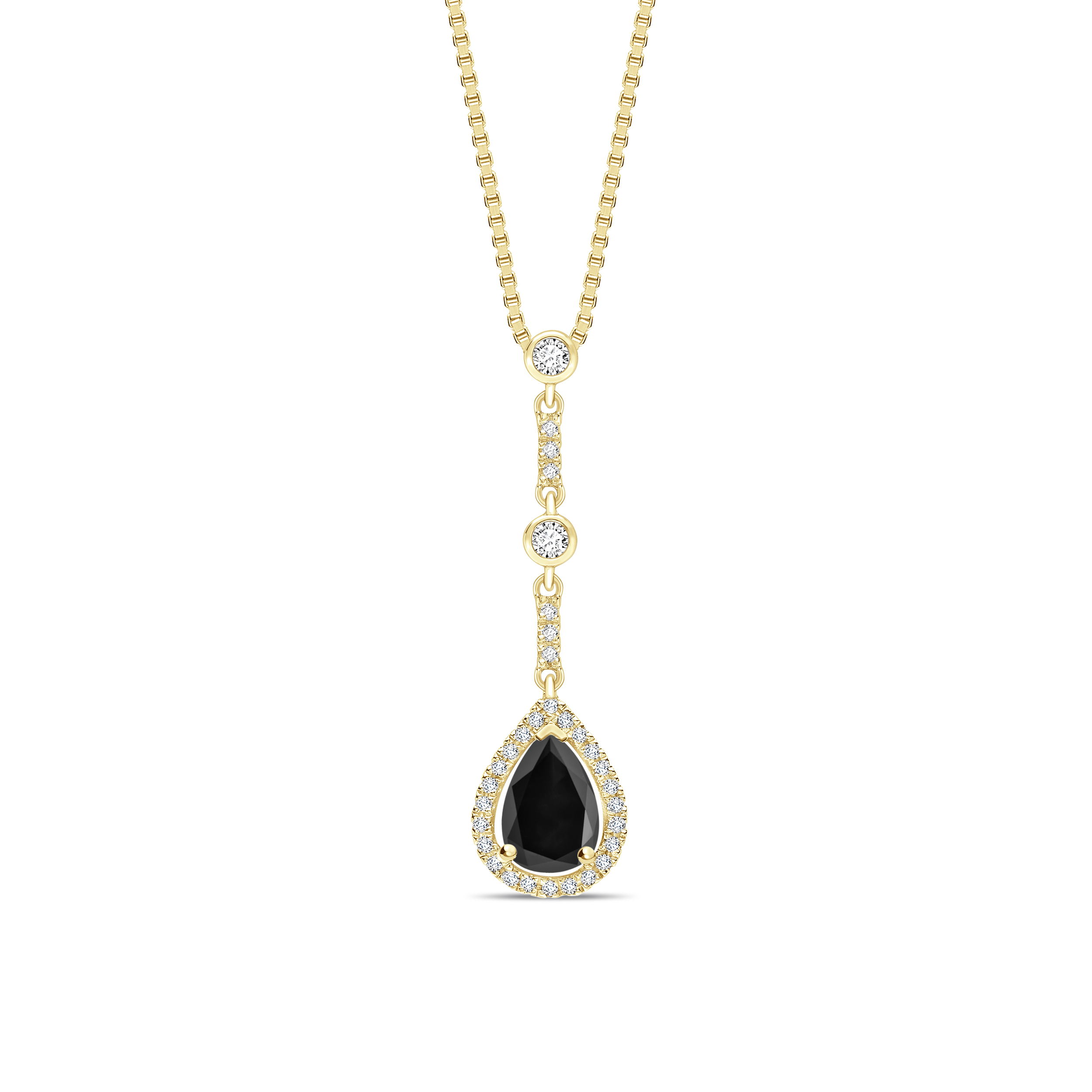 Designer Black Diamond Solitaire Pendants Necklace in Pear Cut