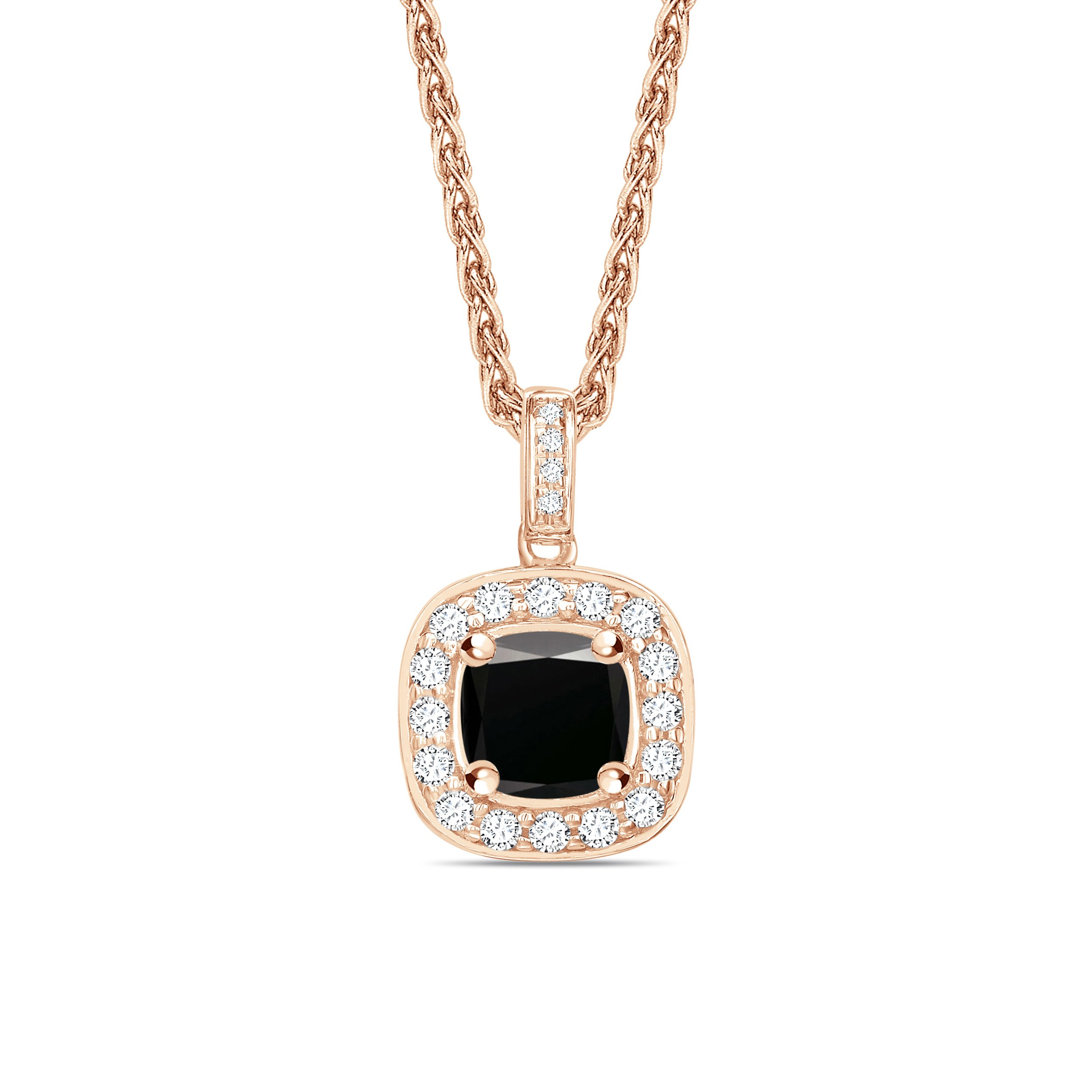 Pave Set Halo Style Black Diamond Solitaire Pendants Necklace