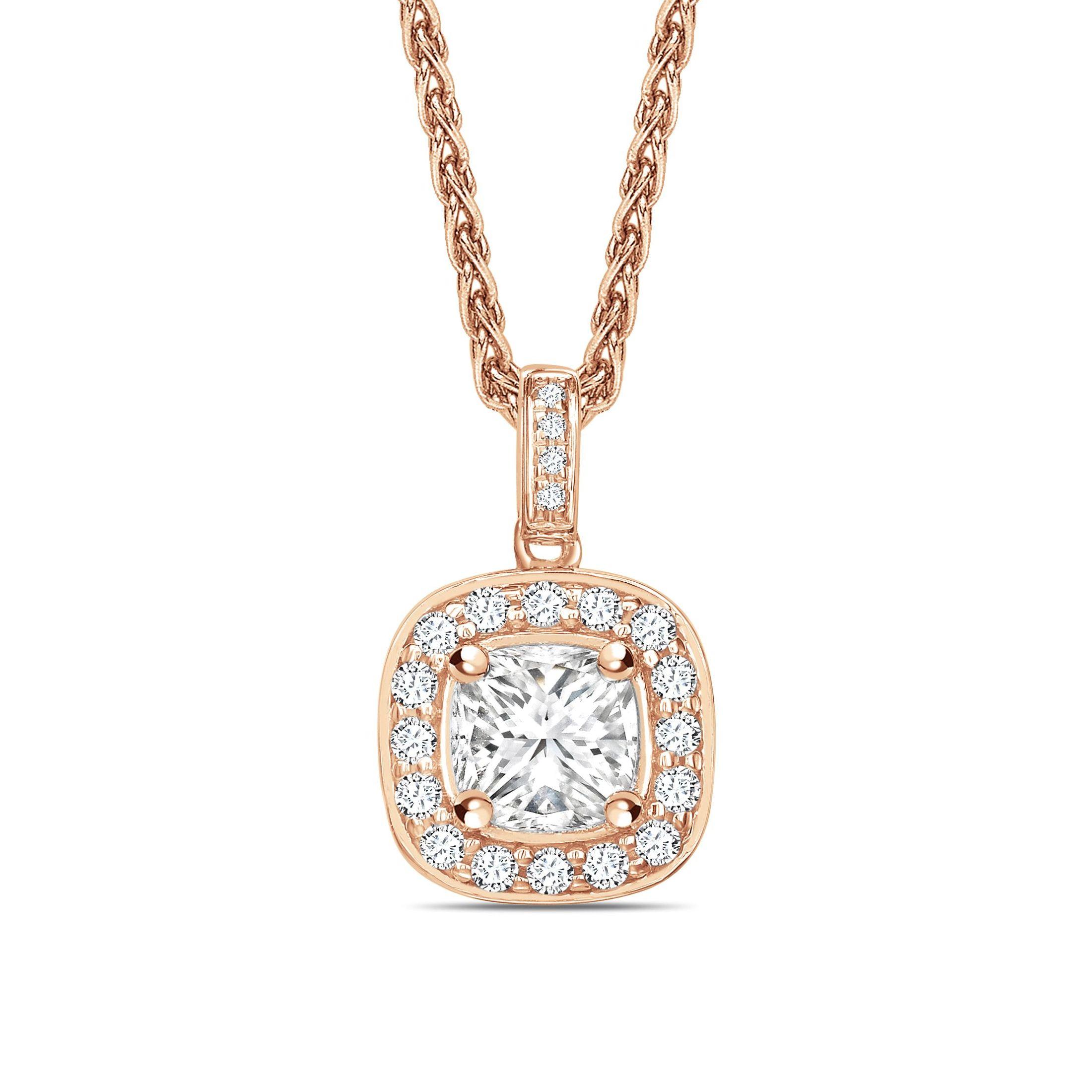 Pave Set Princess Shape Halo Diamond Necklace