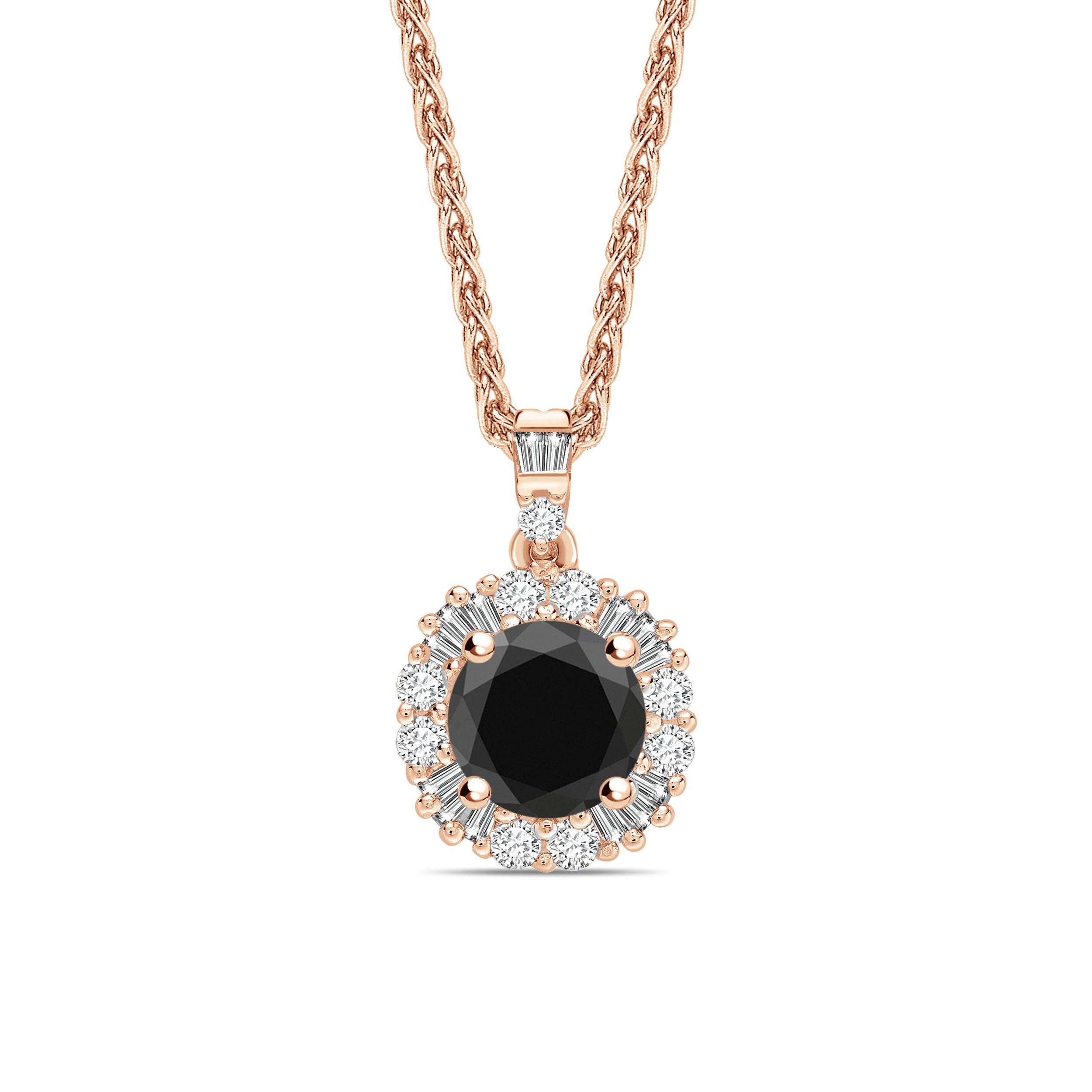 Baguette Set Designer Black Diamond Solitaire Pendants Necklace
