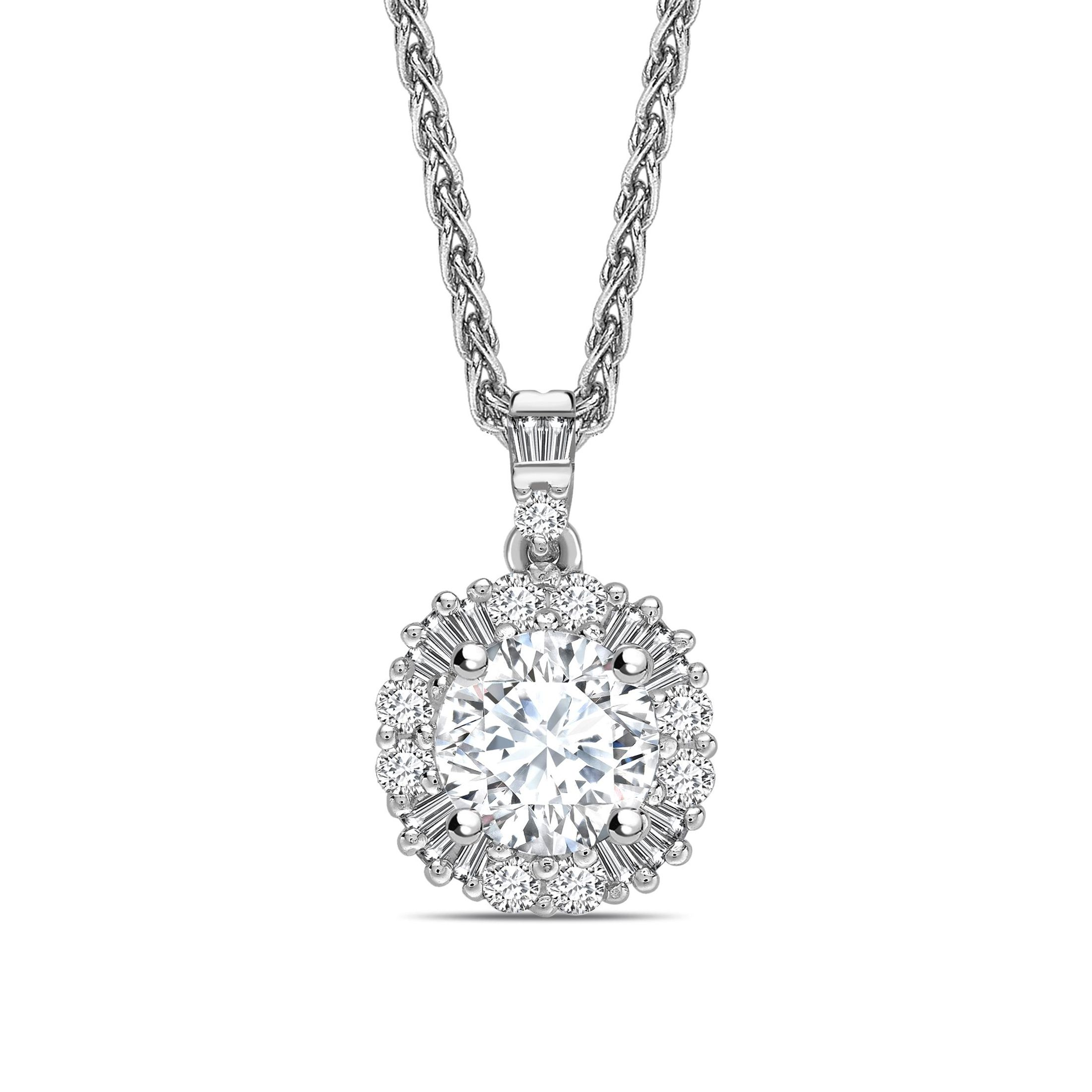 Unique Designer Style Baguette Set Round Shape Halo Diamond Necklace