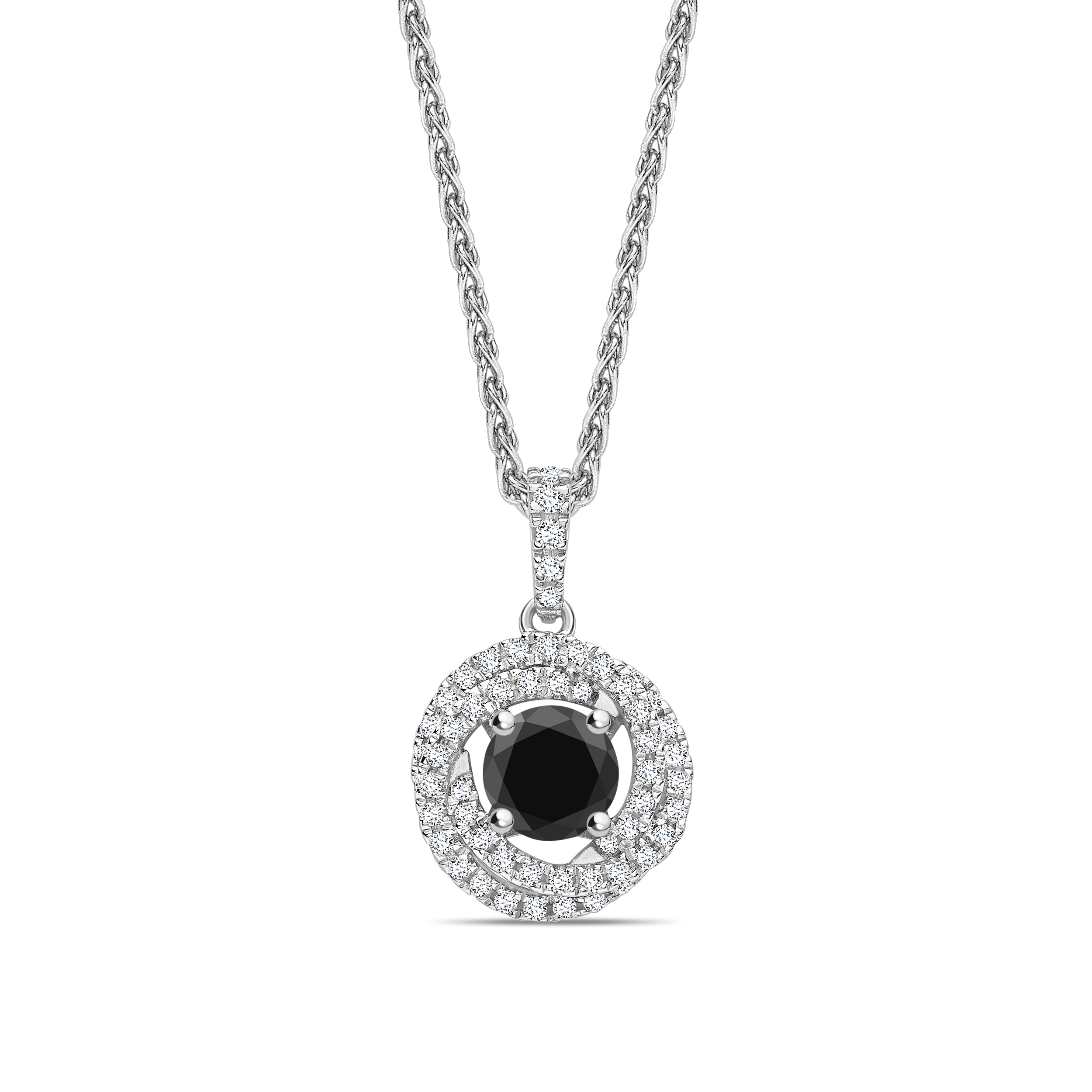 Swirling & Halo Style Black Diamond Solitaire Necklace Pendants