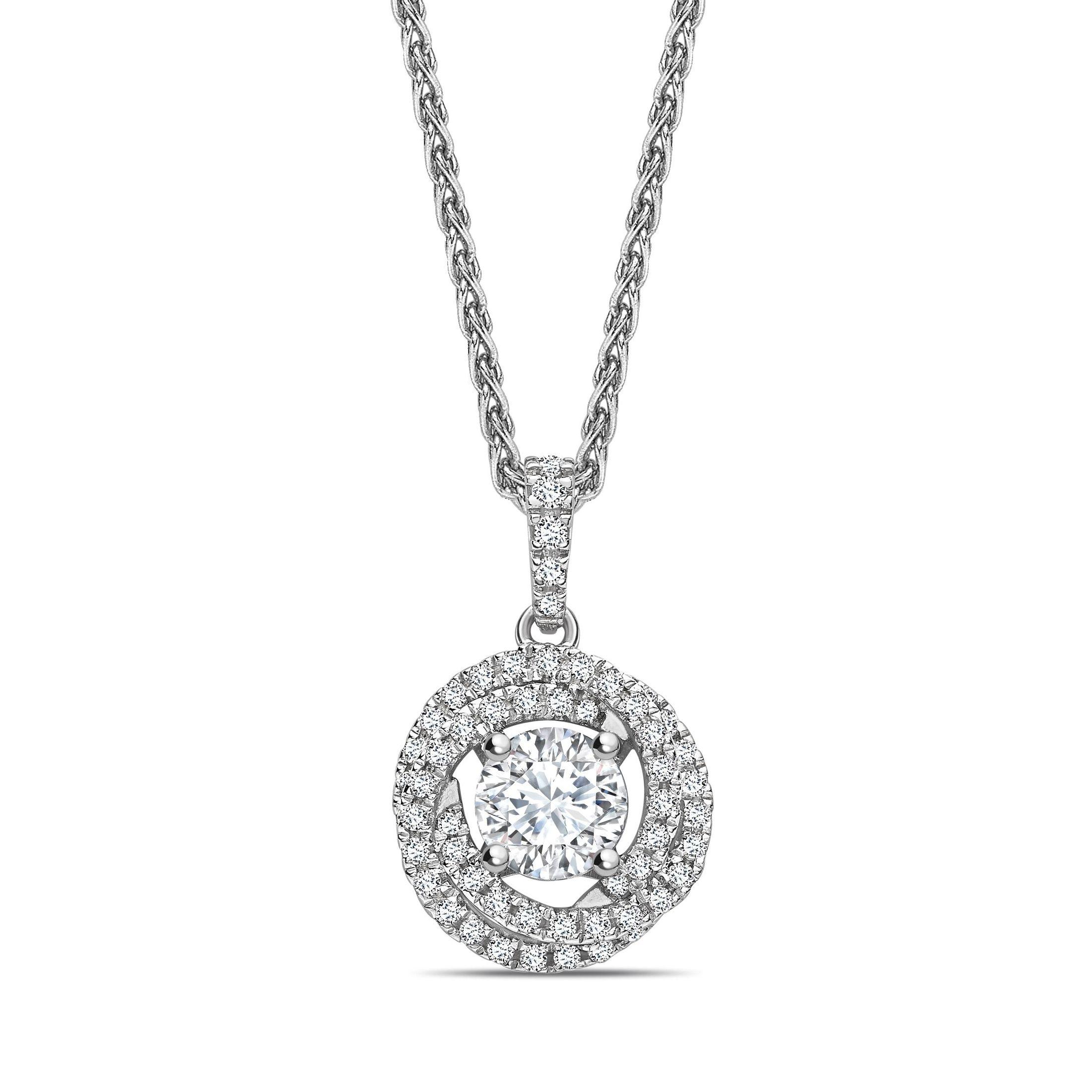 Swirling Style Round Shape Halo Diamond Pendant