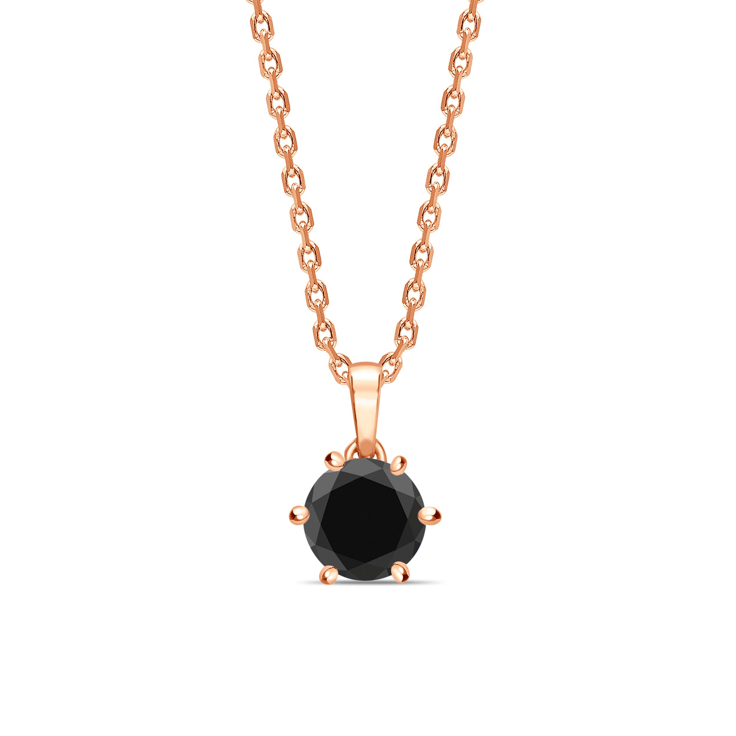 Solitaire Black Diamond Solitaire Pendants Necklace Round Cut & Crown Style