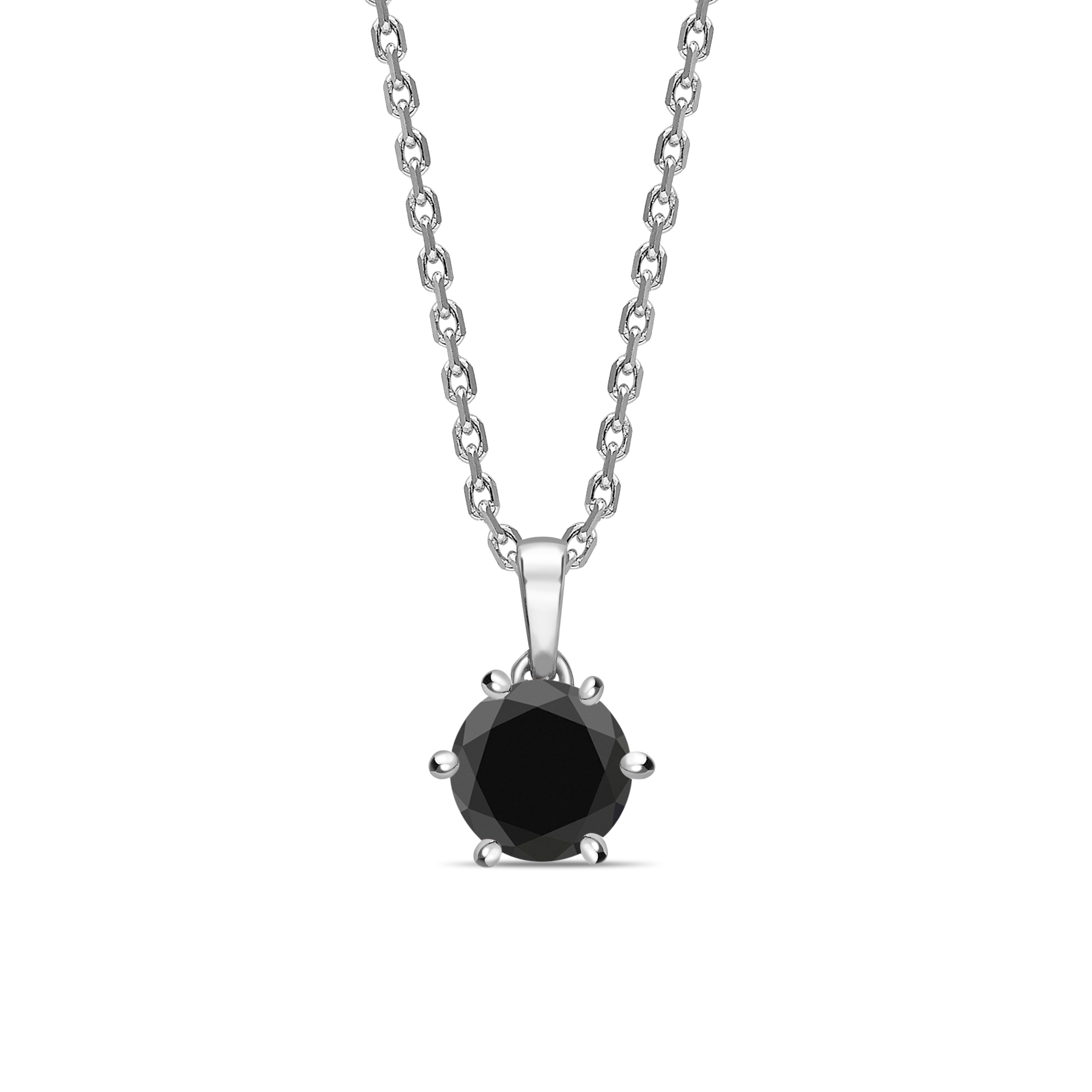Solitaire Black Diamond Solitaire Pendants Necklace Round Cut & Crown Style