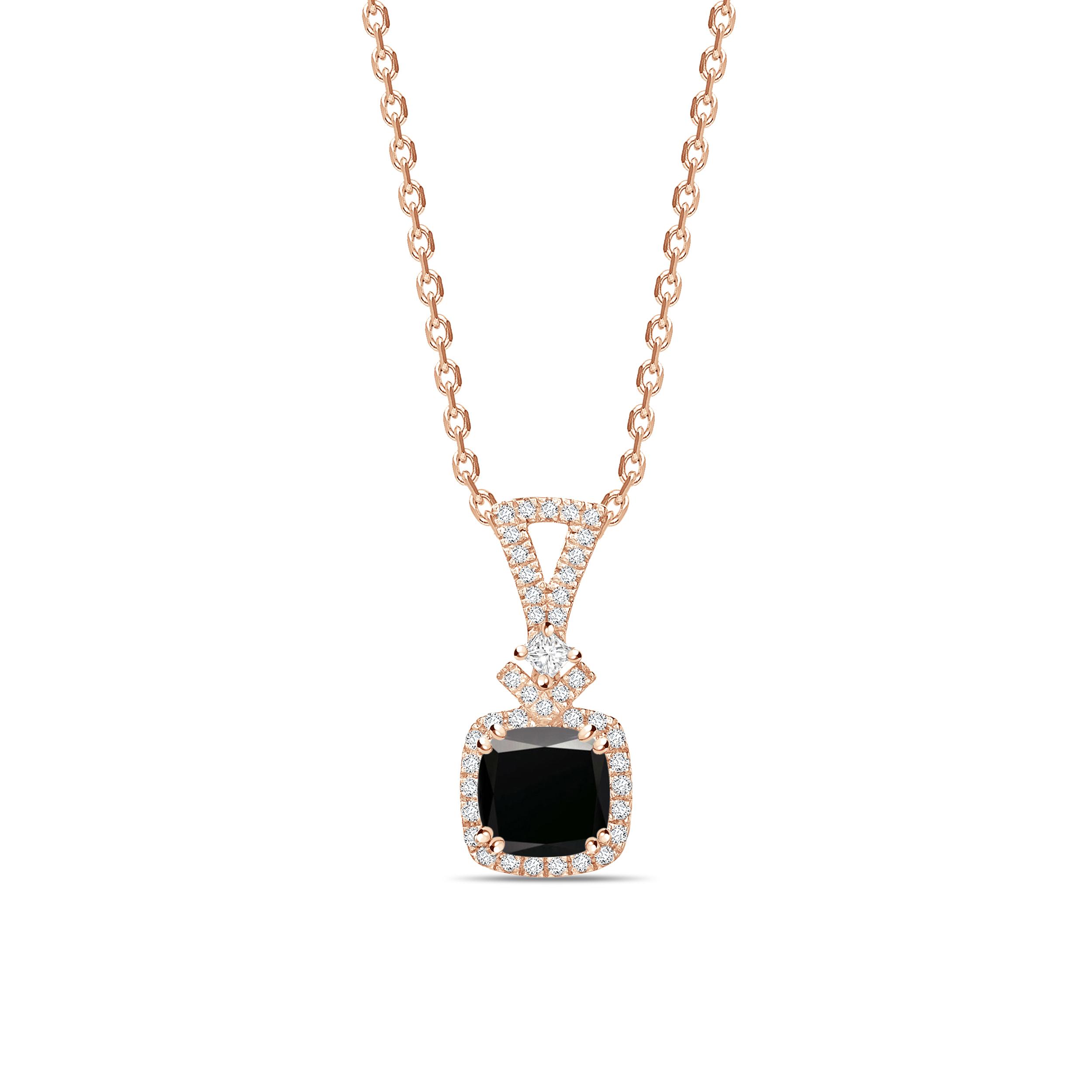 Modern Design Princess Cut Black Diamond Solitaire Pendants Necklace
