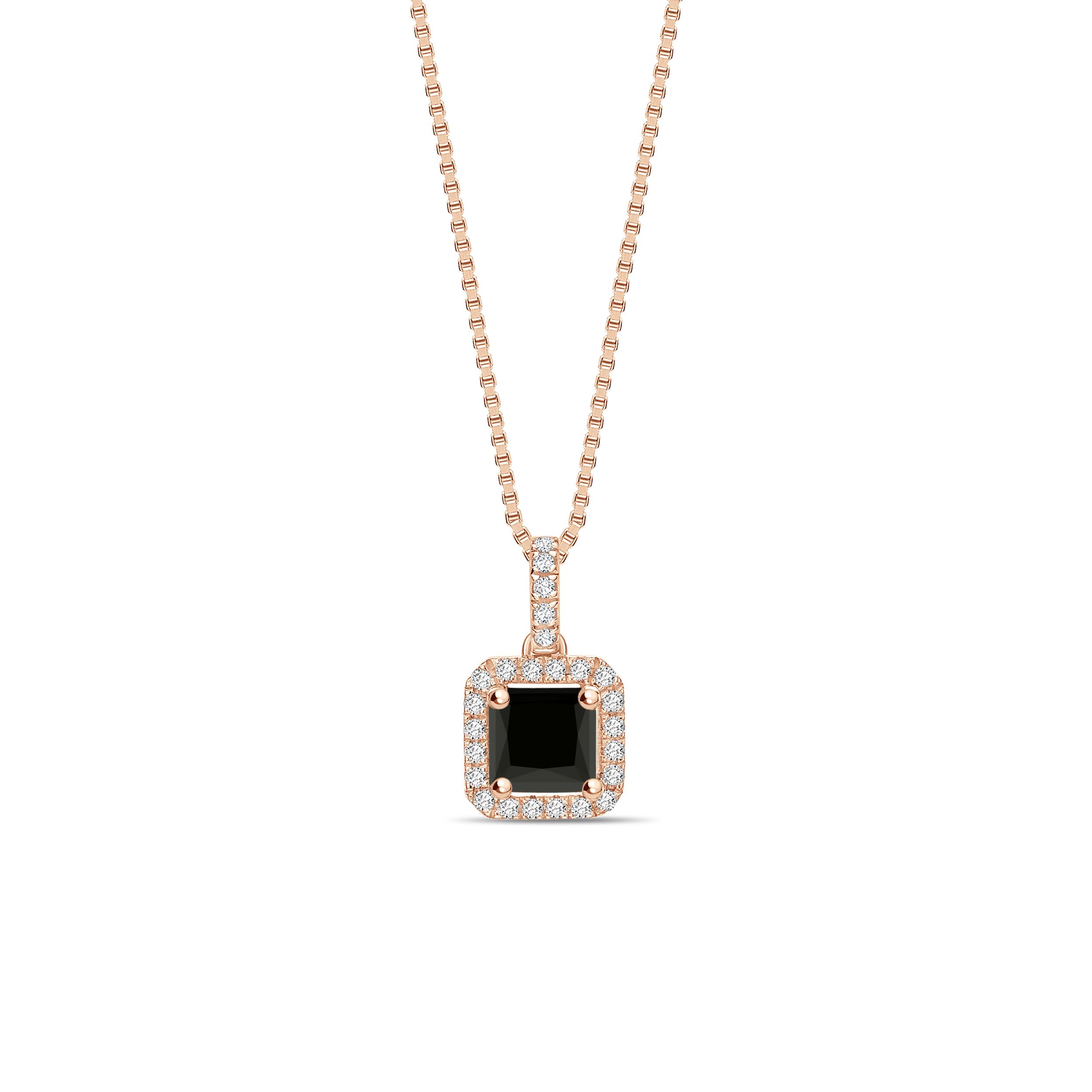 Classic Solitaire Princess Cut Black Diamond Solitaire Pendants Necklace