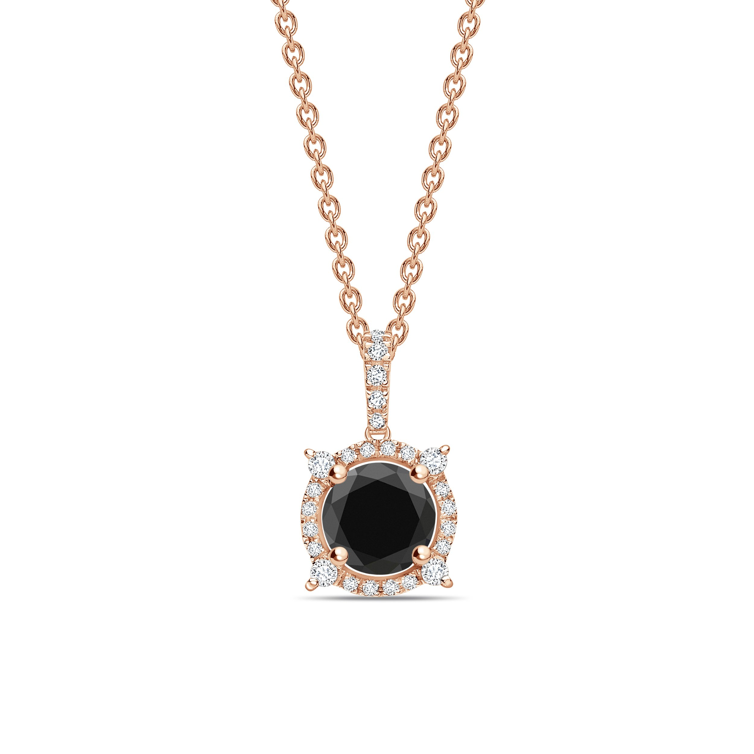 Designer Black Diamond Solitaire Pendants Necklace in Halo Style