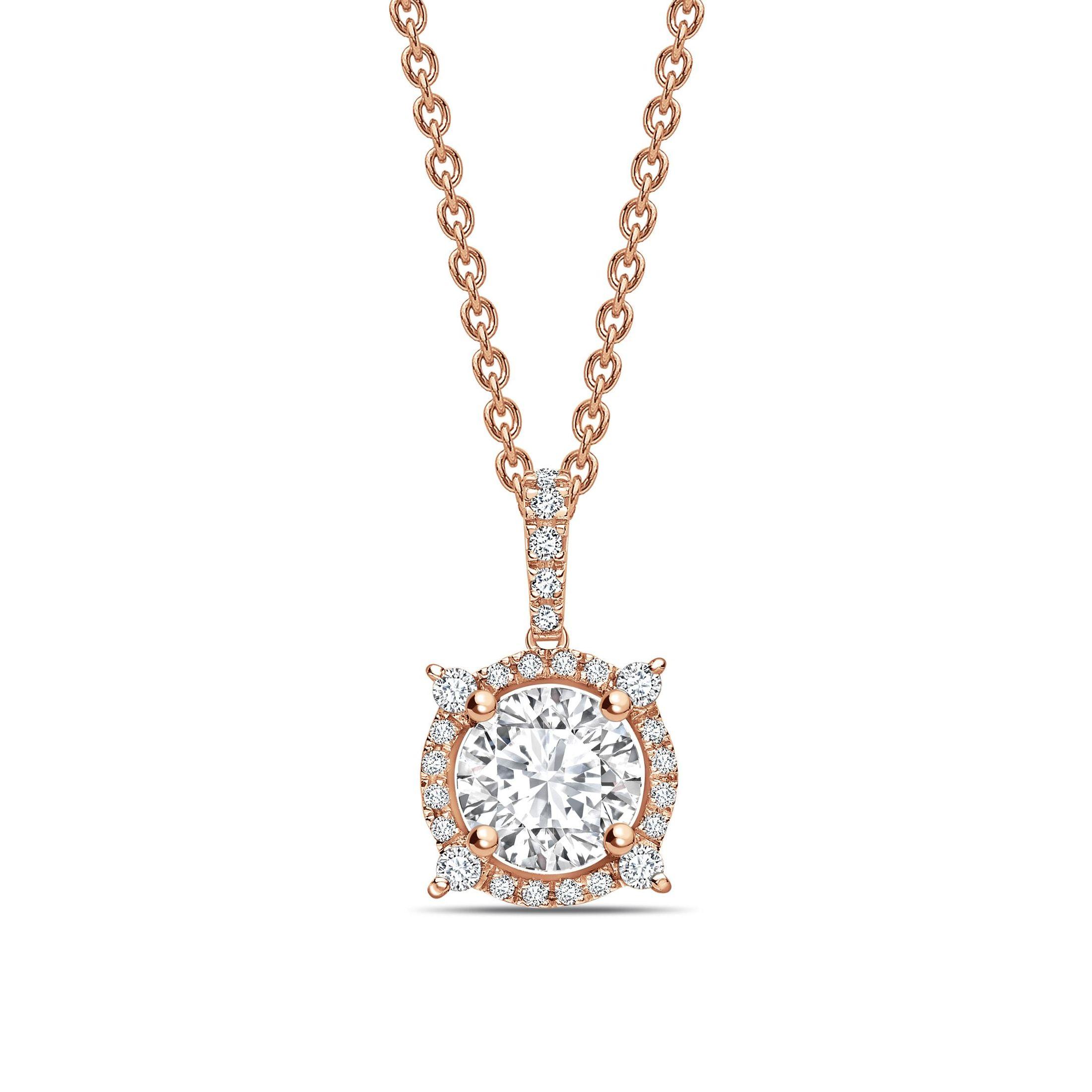 Designer Halo Round Shape Halo Diamond Necklace