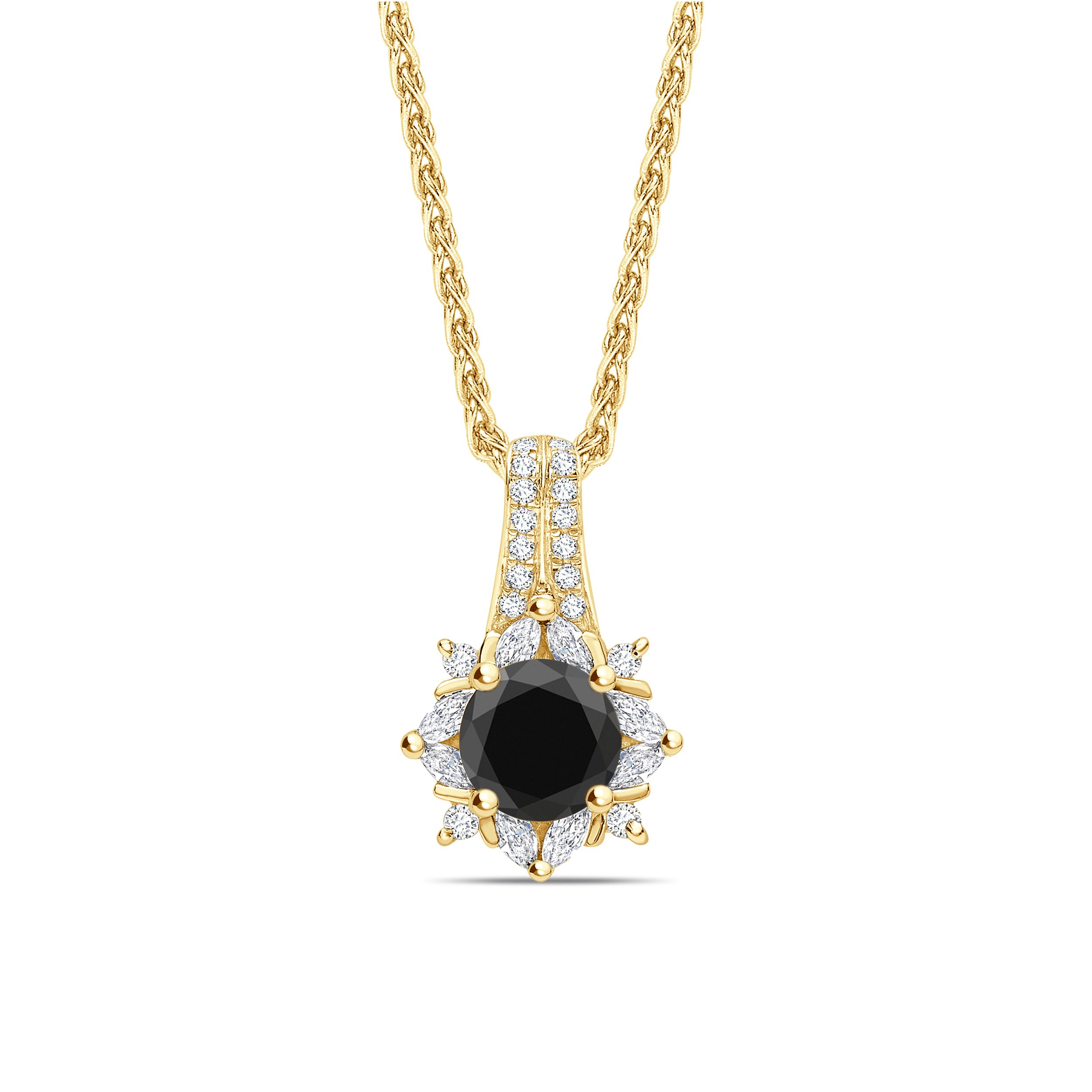 Sapphire Round Cut Halo Style Black Diamond Solitaire Pendants Necklace
